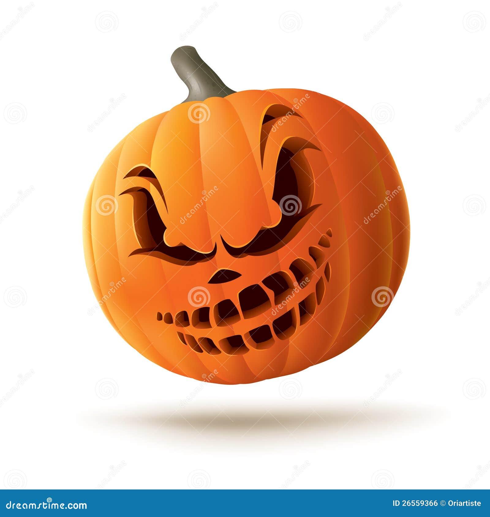 Scary Jack O Lantern Stock Vector Illustration Of White 26559366