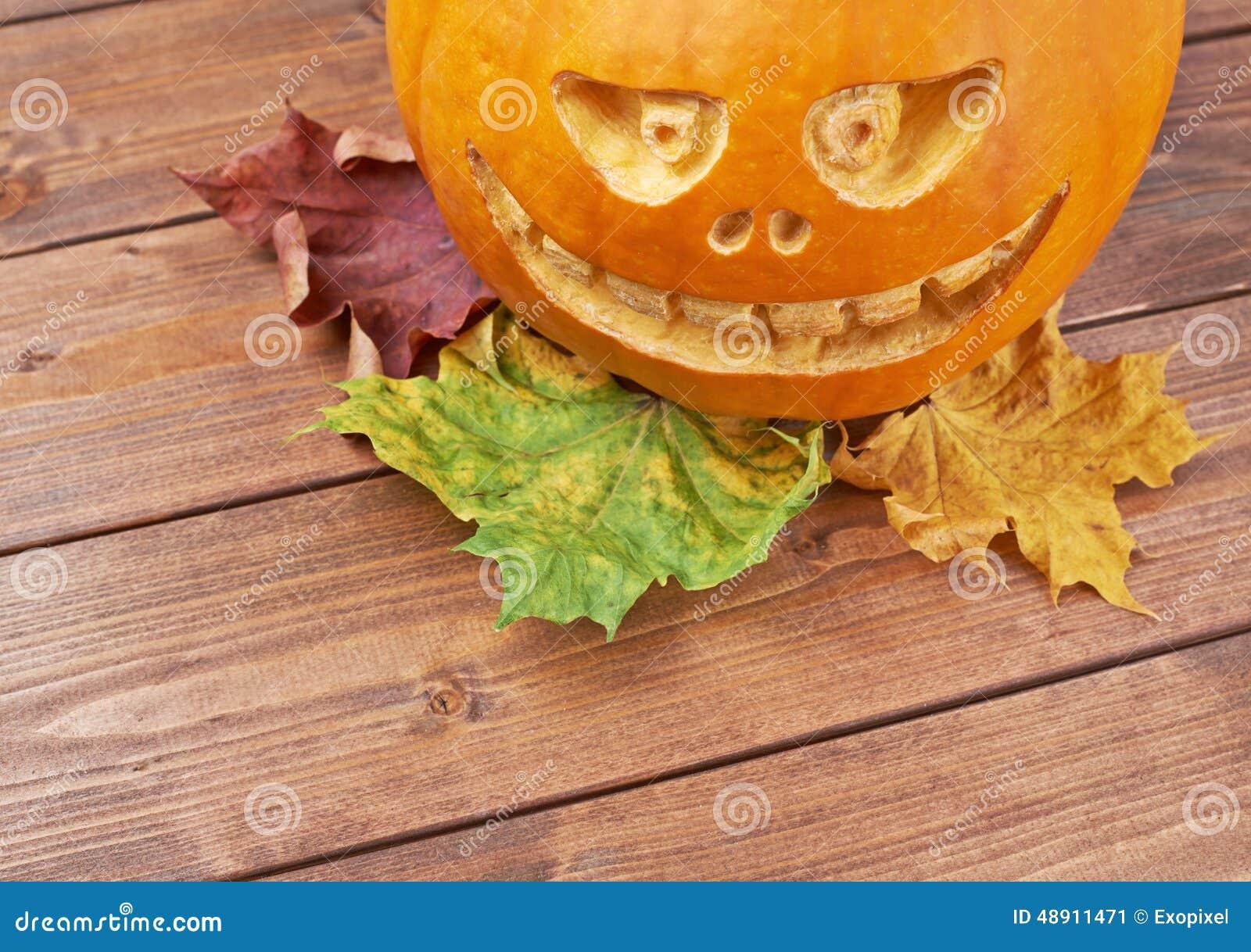 Scary jack o lantern pumpkin composition stock photo