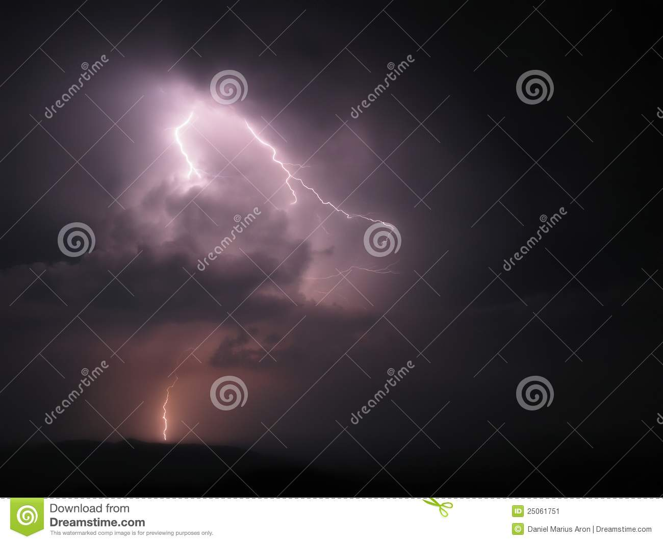 Scary Lightning Bolt Into The Night On Storm Stock Image Image 25061751