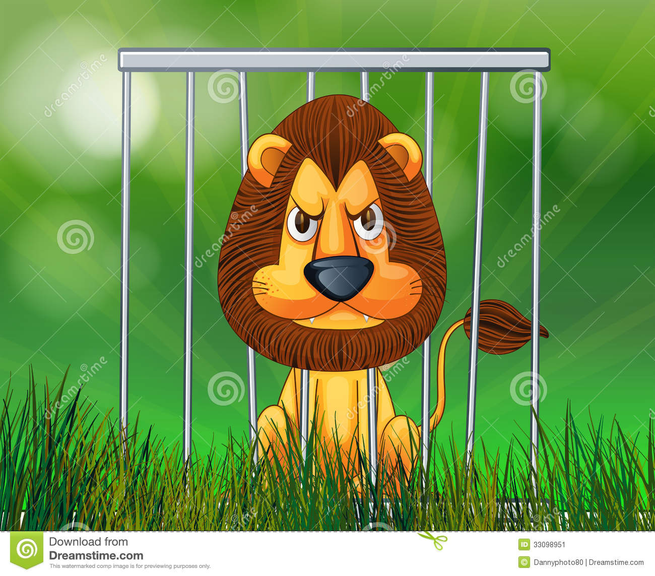 Lion Cage Clipart A scary lion inside the cage