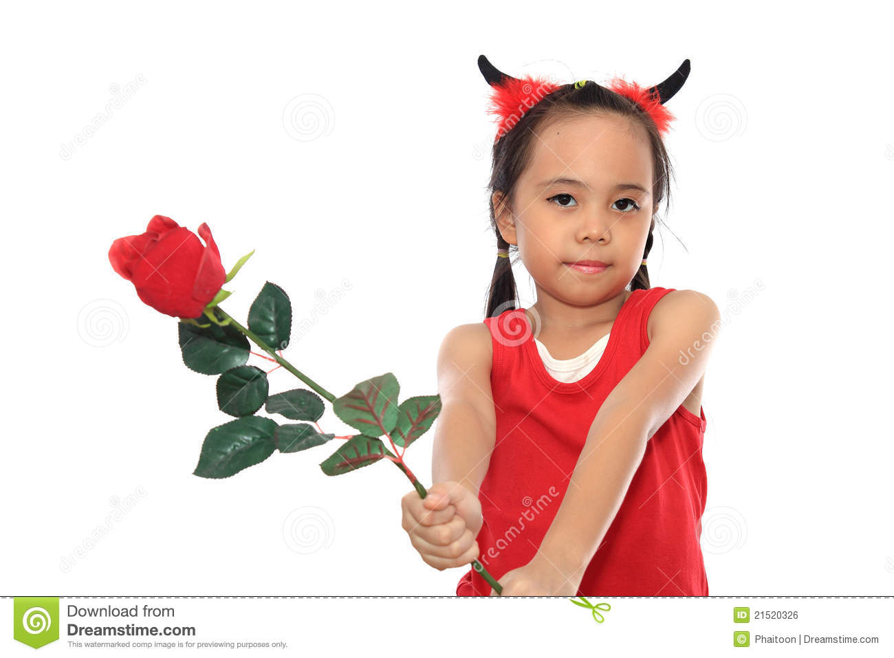scary little girl in halloween costume give red royalty free stock image