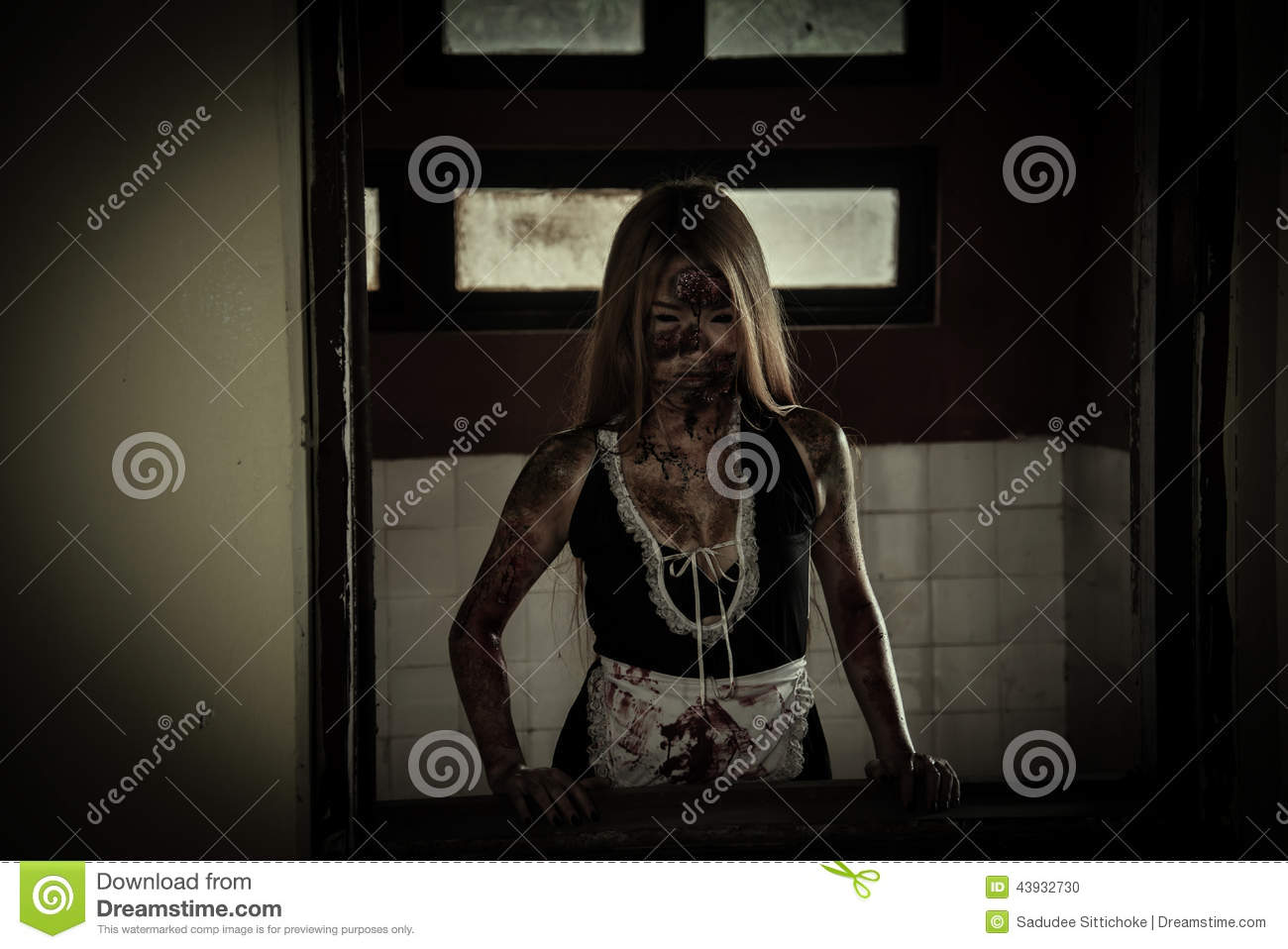 Scary Maid Ghost Story Of A Haunted House Stock Photo ...
