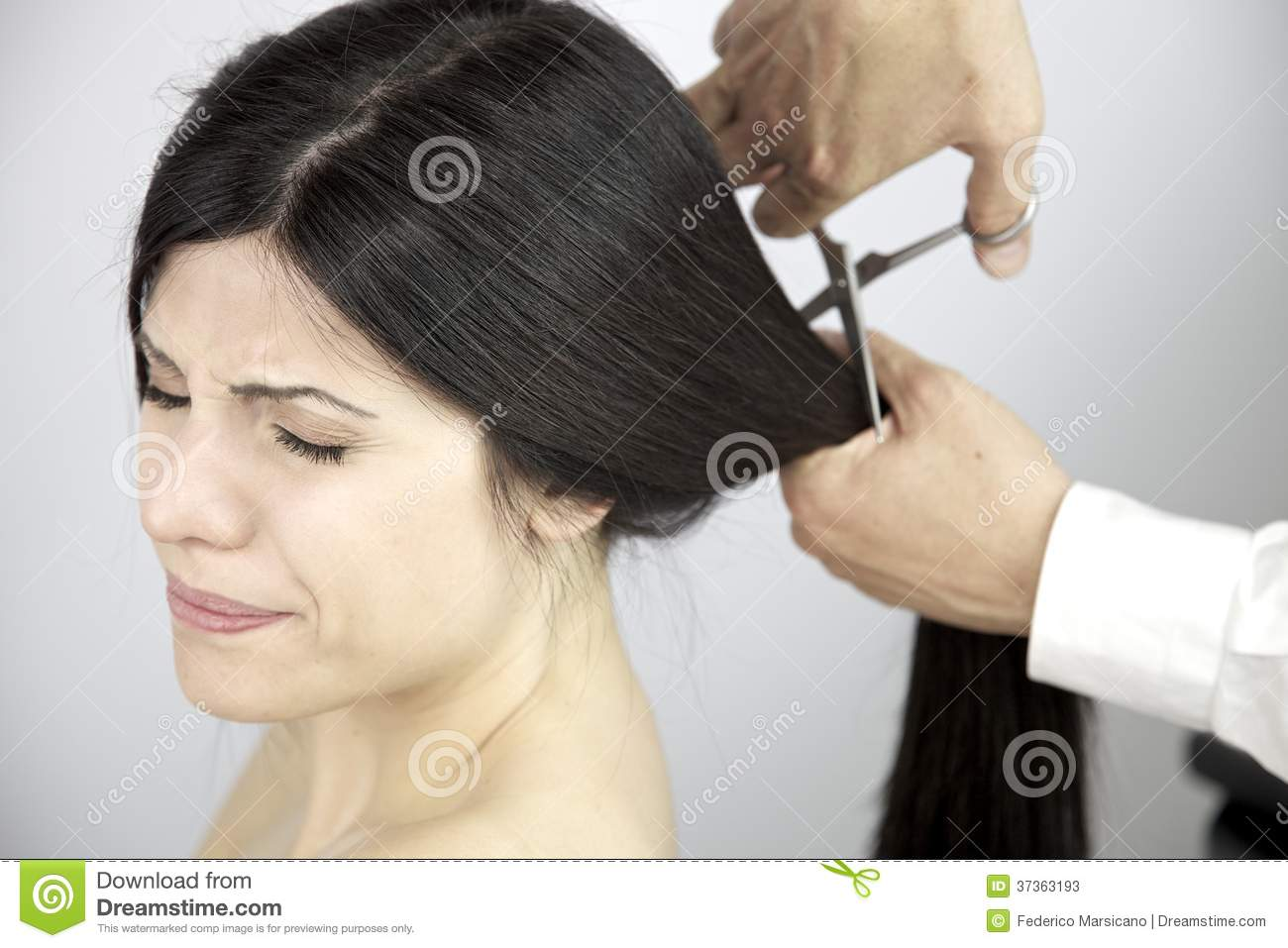 Scary Moment Long Hair Being Cut By Hairdresser Stock