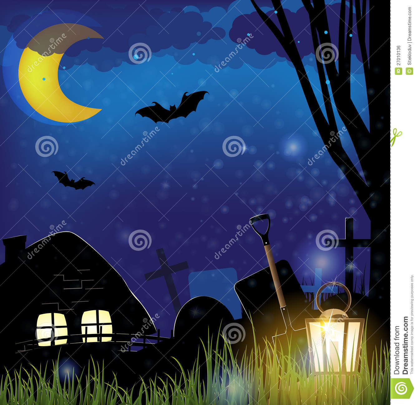 Scary Night Landscape Stock Vector Image Of House Grief