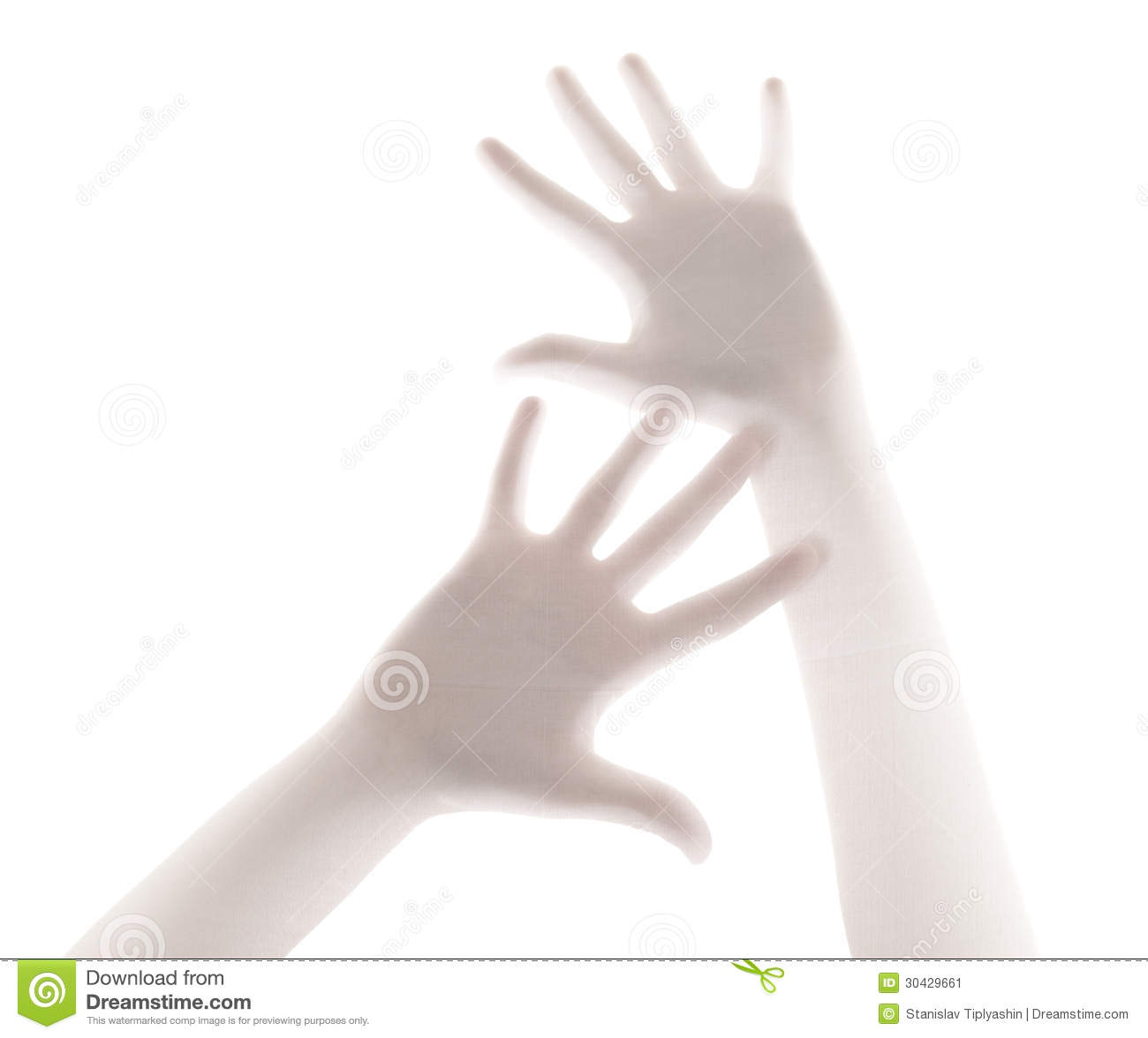 Scary palm of hand behind shower curtain background stock image