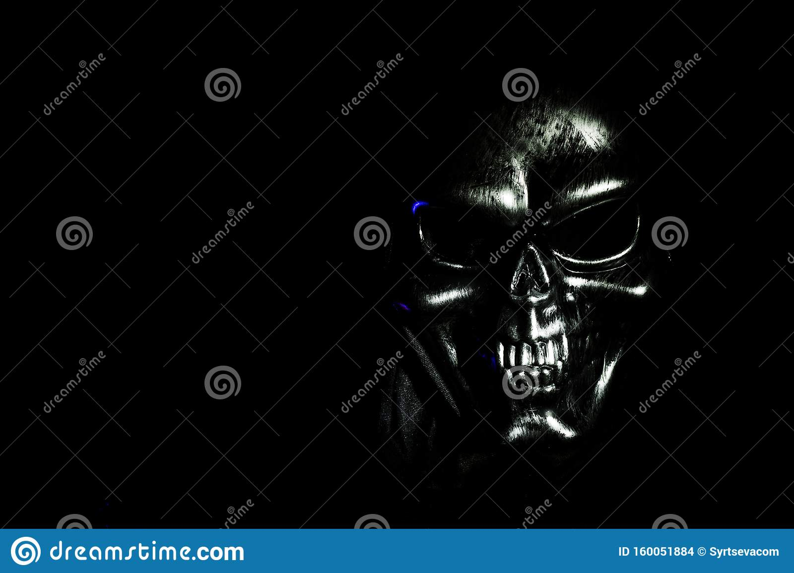 Scary Skul On Black Background Selective Focus Scary Grunge Skull Wallpaper Halloween Background Stock Photo Image Of Kill Devil 160051884
