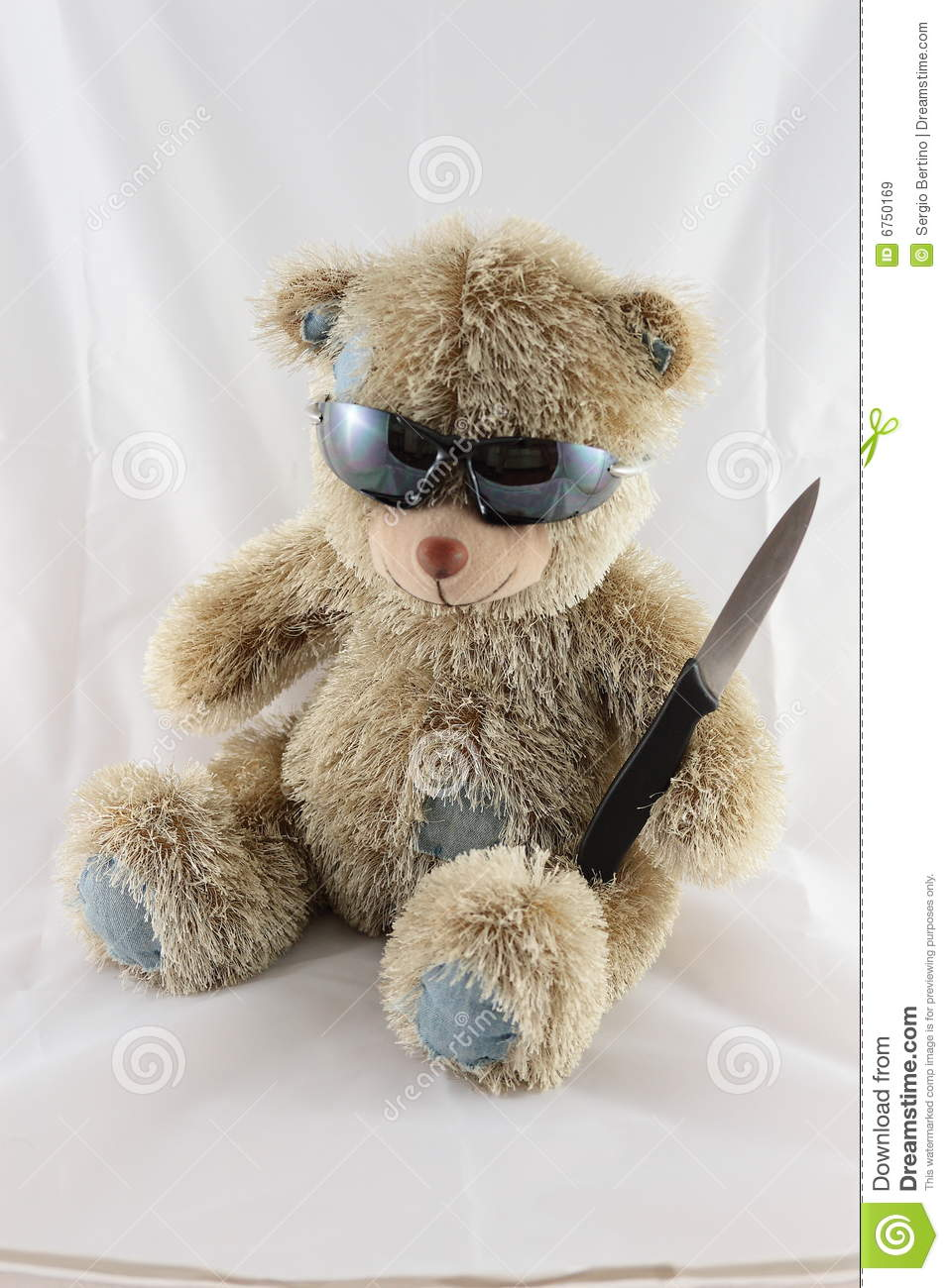 scary teddy bear with a knife royalty free stock images
