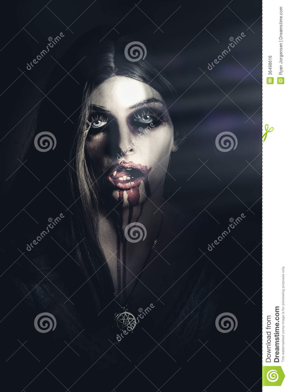Scary Undead Zombie Girl Lurking In Dark Shadows Stock