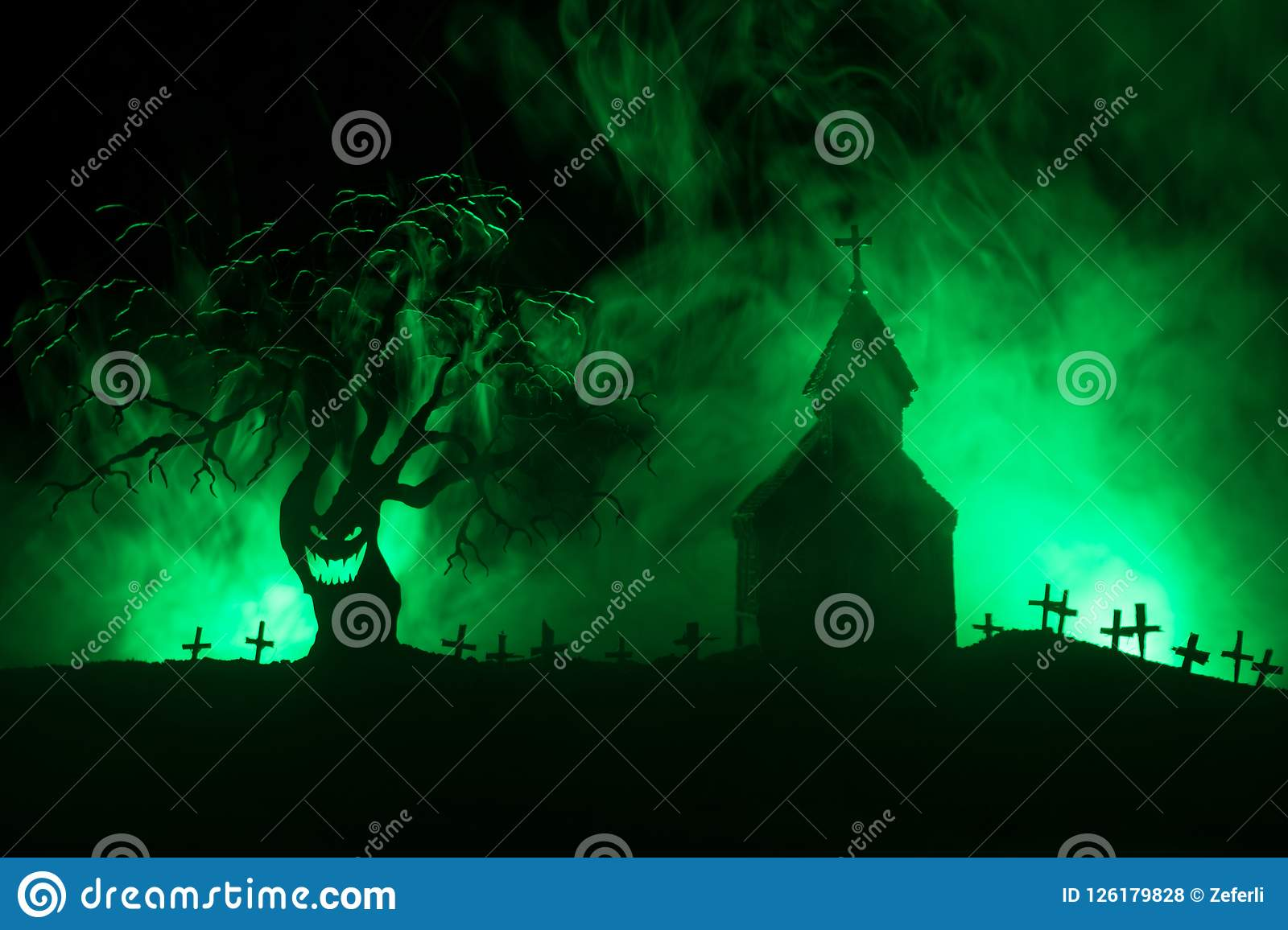 Scary View Of Zombies At Cemetery Dead Tree, Moon, Church