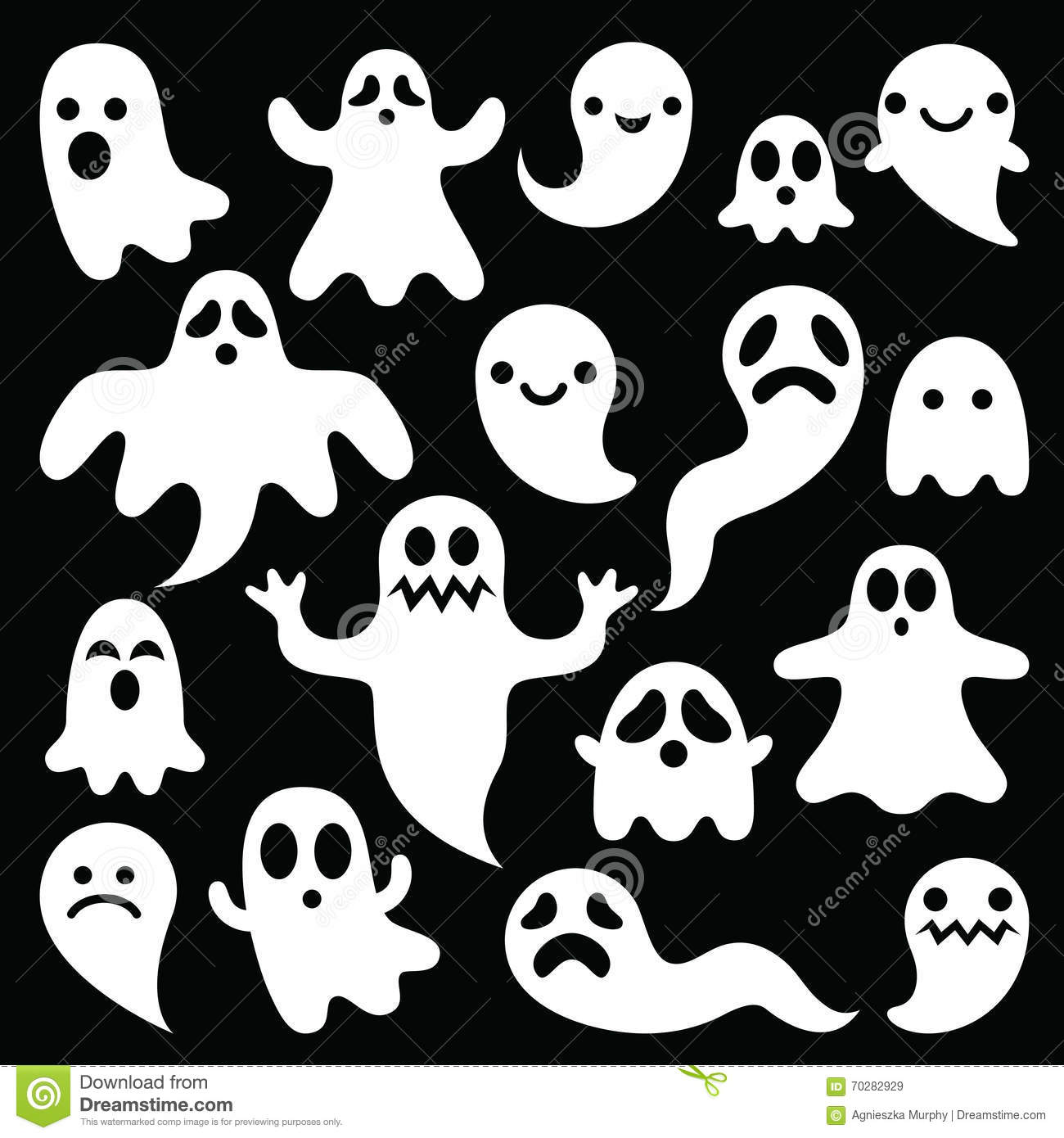 scary white ghosts design on black background halloween celebration royalty free stock images - Halloween Design