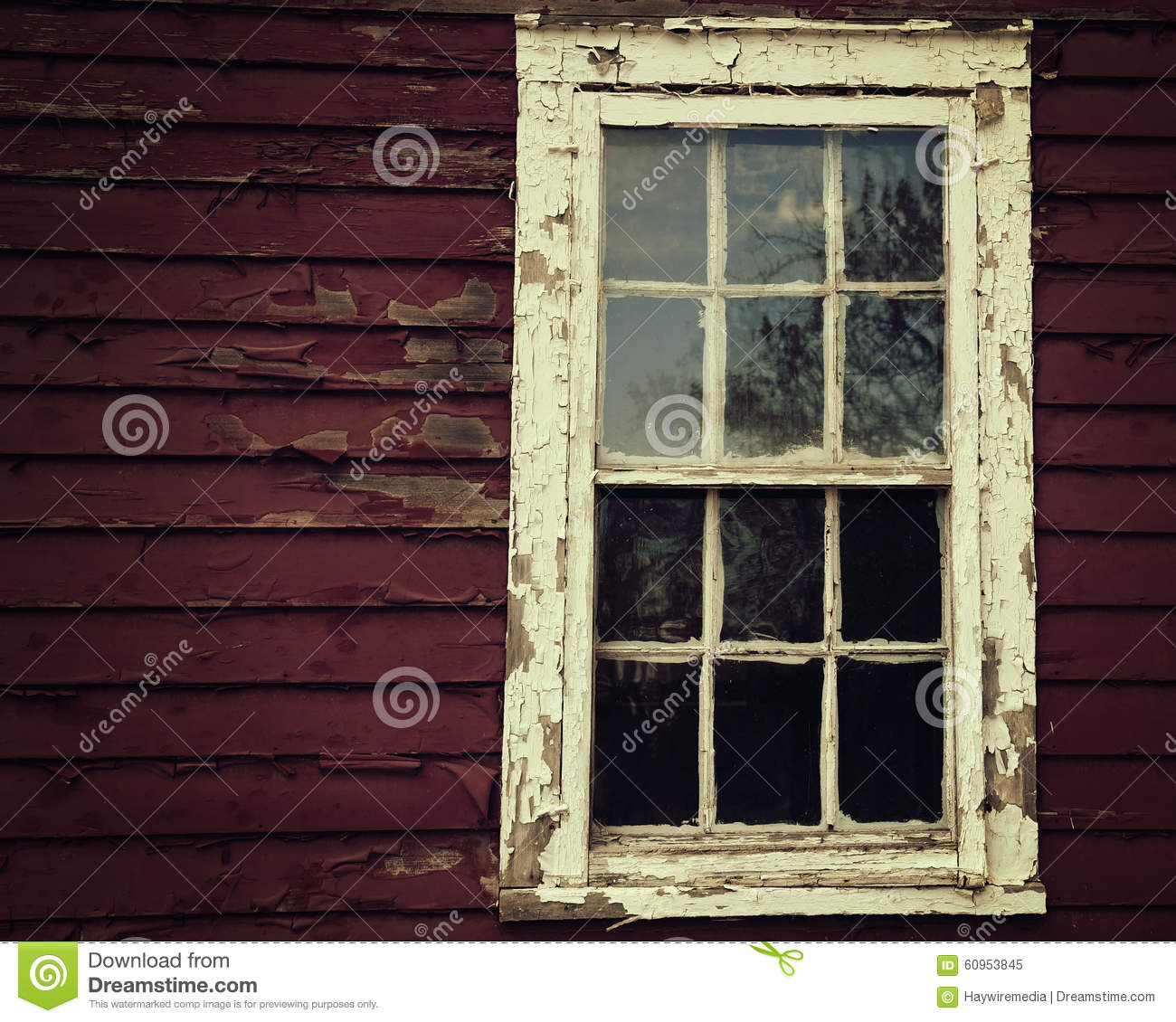 Scary window on old wooden house stock image image 60953845 - Exterior paint peeling concept ...