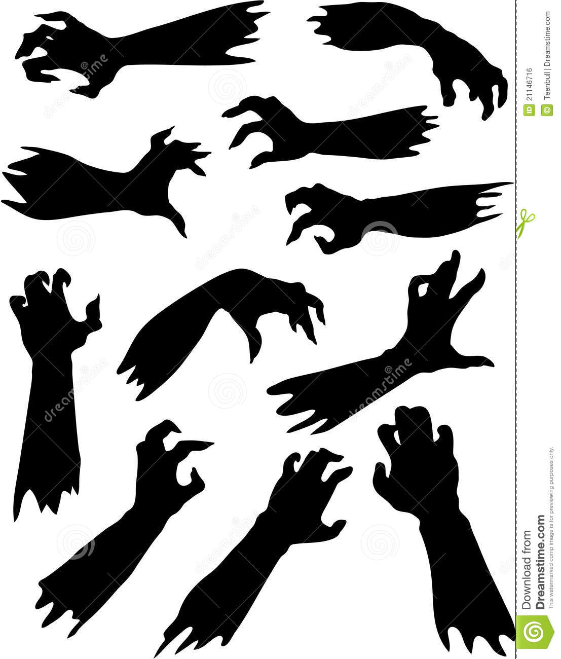 Helloween set of scary zombie hands silhouettes Zombie Hand Silhouette