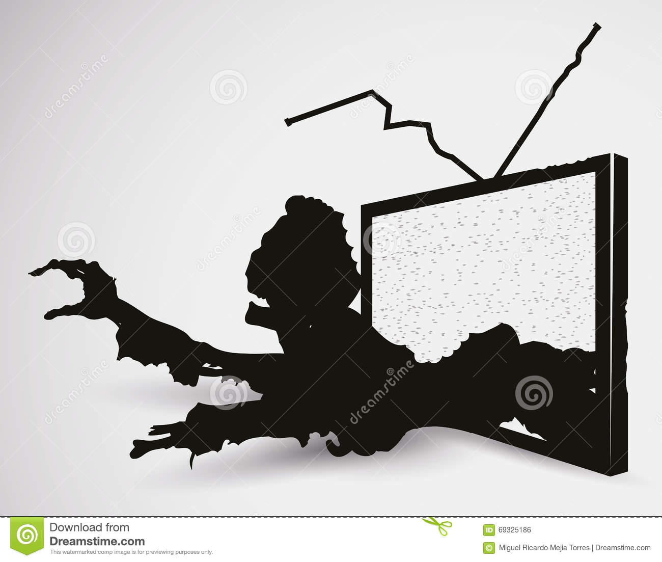 Scary Zombie TV In Silhouettes, Vector Illustration Stock ...