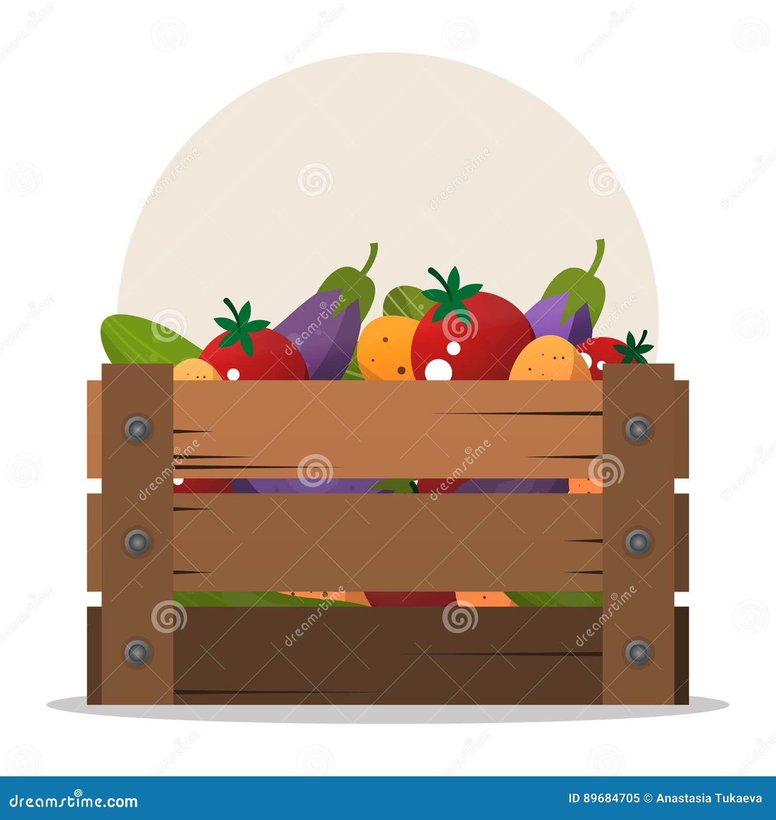Scatola di legno con differenti verdure Insieme dei prodotti