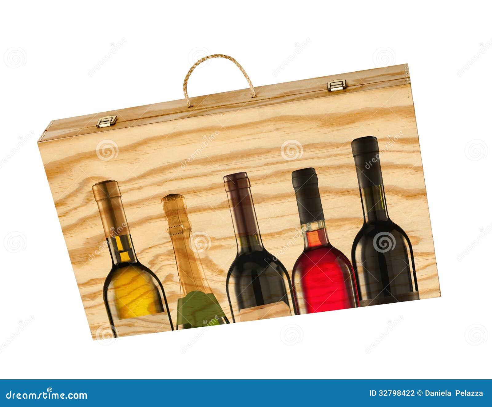 Scatola Di Legno Per Le Bottiglie Di Vino. Fotografia Stock - Immagine: 32798422