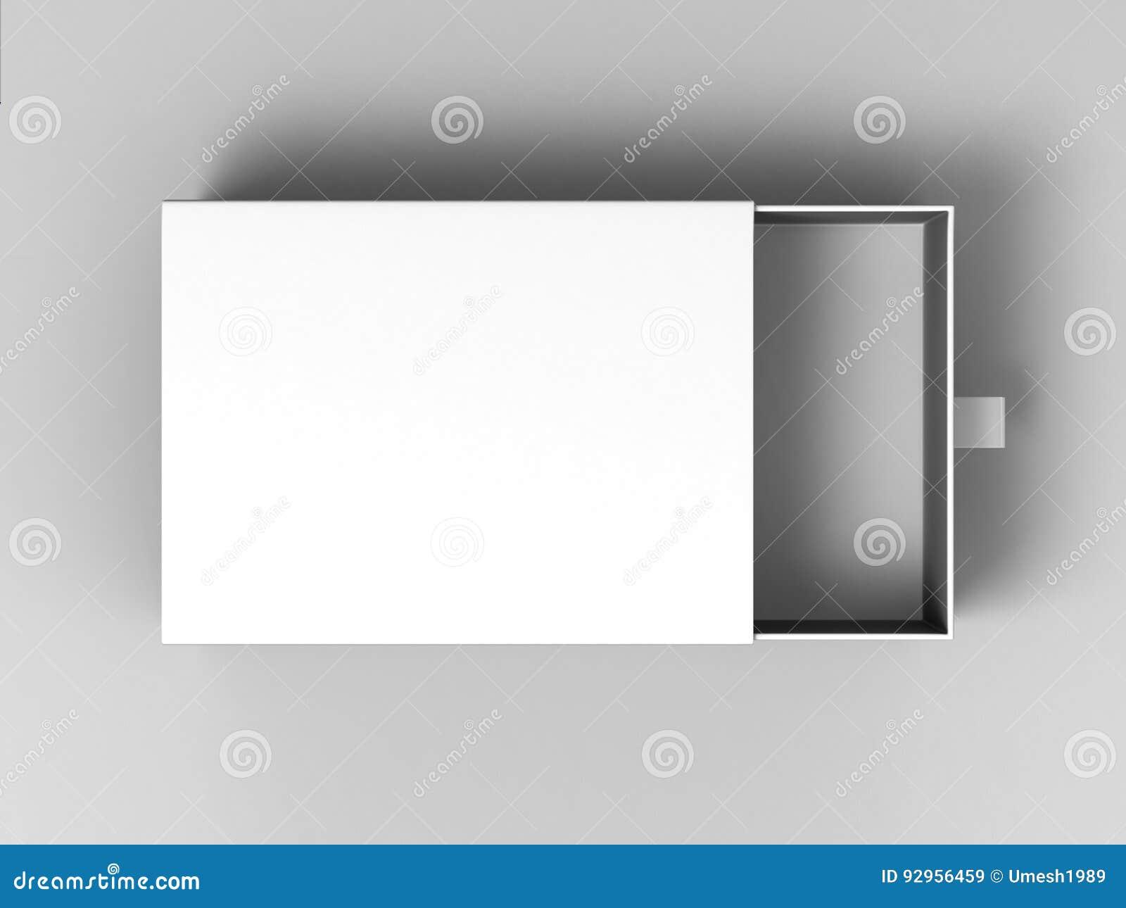 Scatola di scivolamento bianca del cartone dello spazio in bianco realistico del pacchetto su fondo grigio Per gli elementi poco