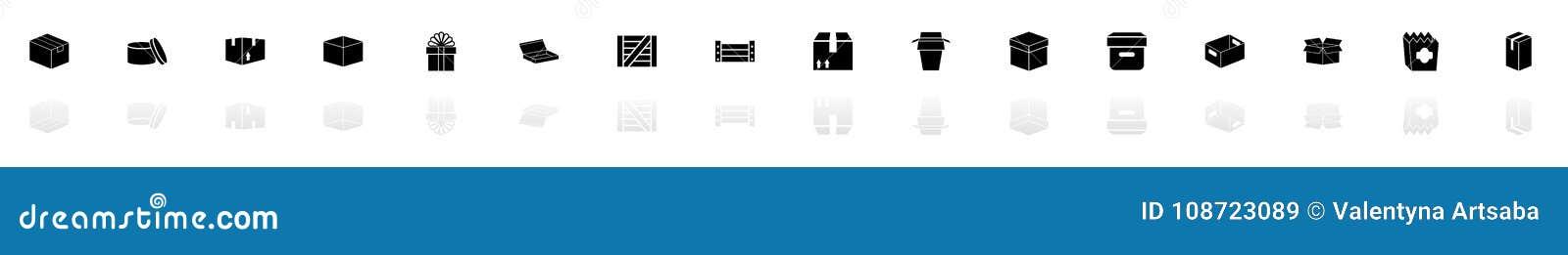 Scatola e casse - icone piane di vettore