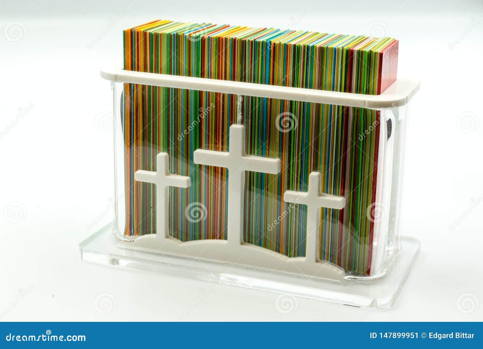 Scatola rettangolare con le carte per le preghiere