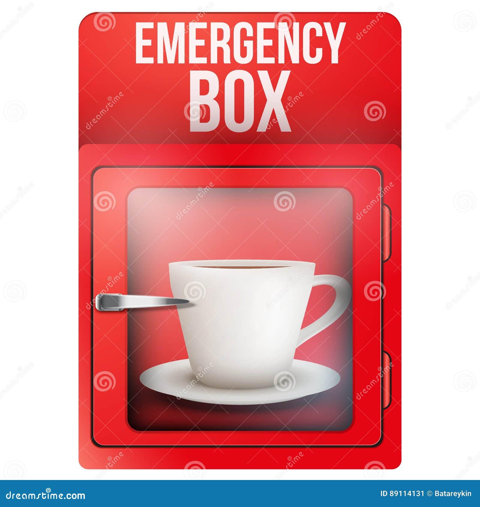 Scatola rossa di emergenza con la tazza di caffè