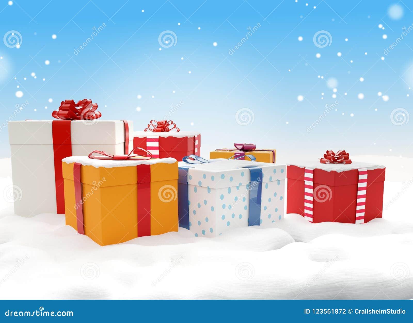 Scatole Per Regali Di Natale.Scatole 3d Illustration Dei Regali Di Natale Dei Regali Di Natale