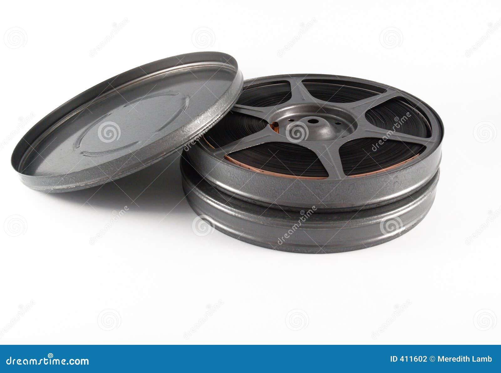 Scatole metalliche e bobina della pellicola da 16 millimetri