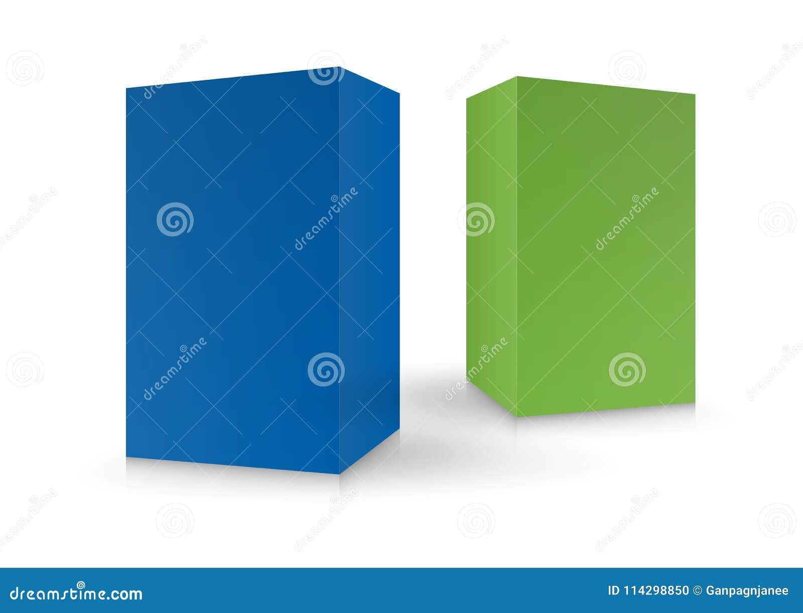 Scatole variopinte, pacchetto, 3d scatola, progettazione, illustrazione di vettore Modello d imballaggio