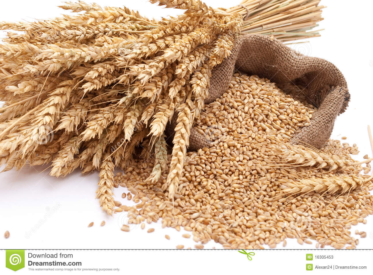 the scattered bag with wheat of a grain stock photos image 16305453. Black Bedroom Furniture Sets. Home Design Ideas