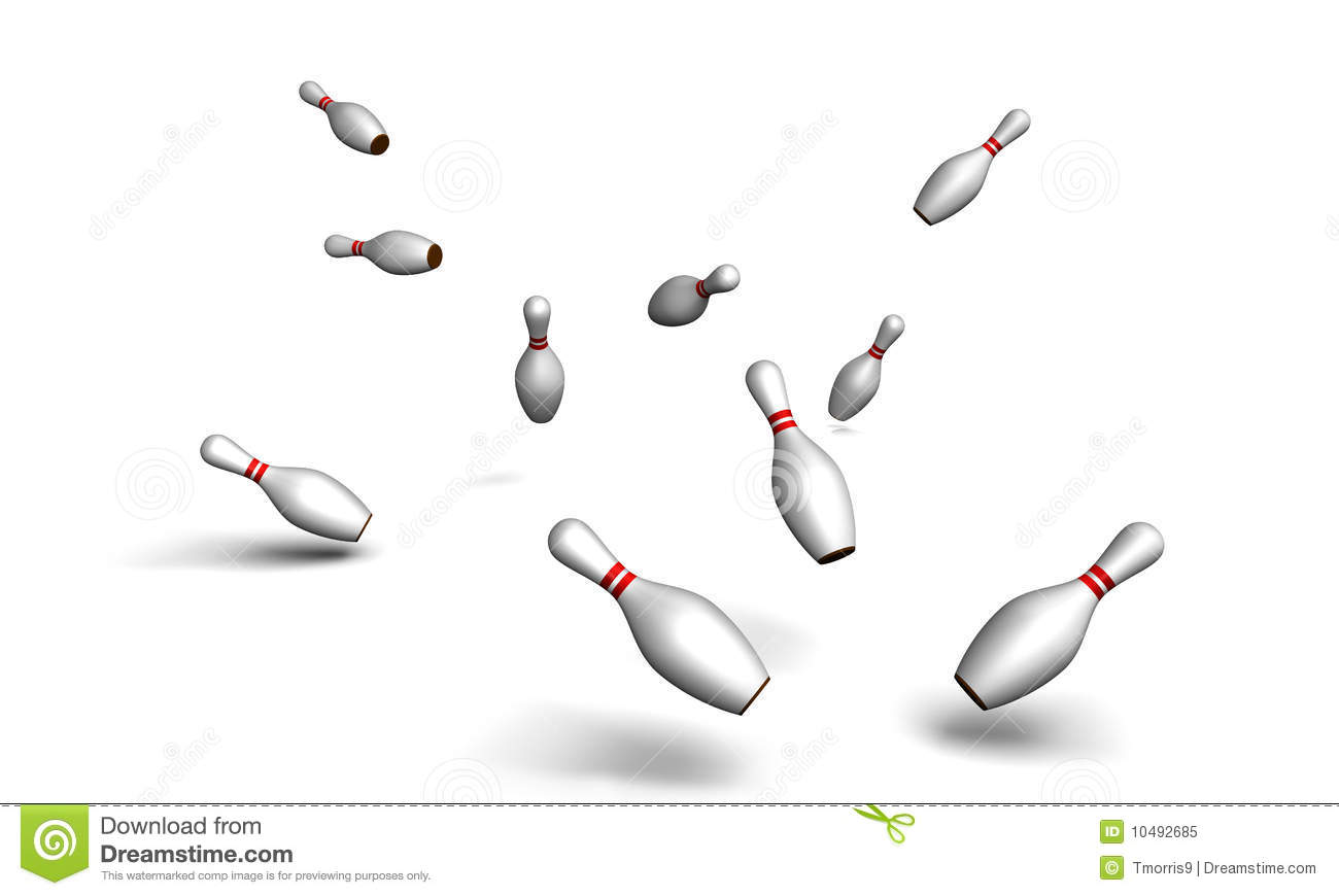 Scattered Bowling Pins Royalty Free Stock Photo - Image: 10492685
