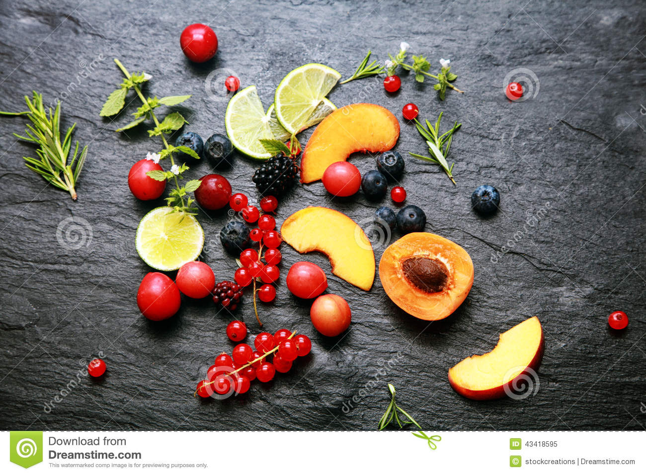 Scattered Fresh Fruit And Berries Stock Photo - Image ...