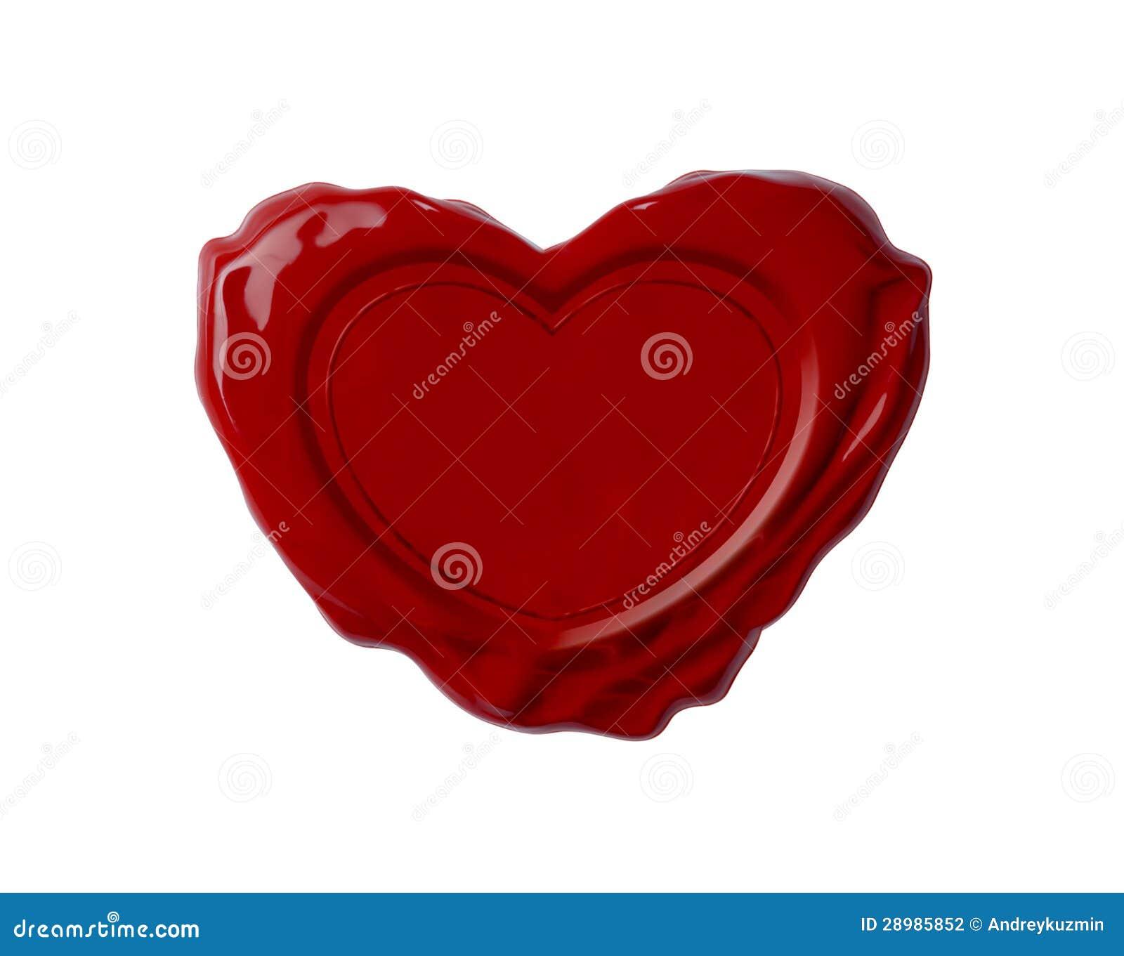Sceau rouge de cire dans la forme du coeur d isolement