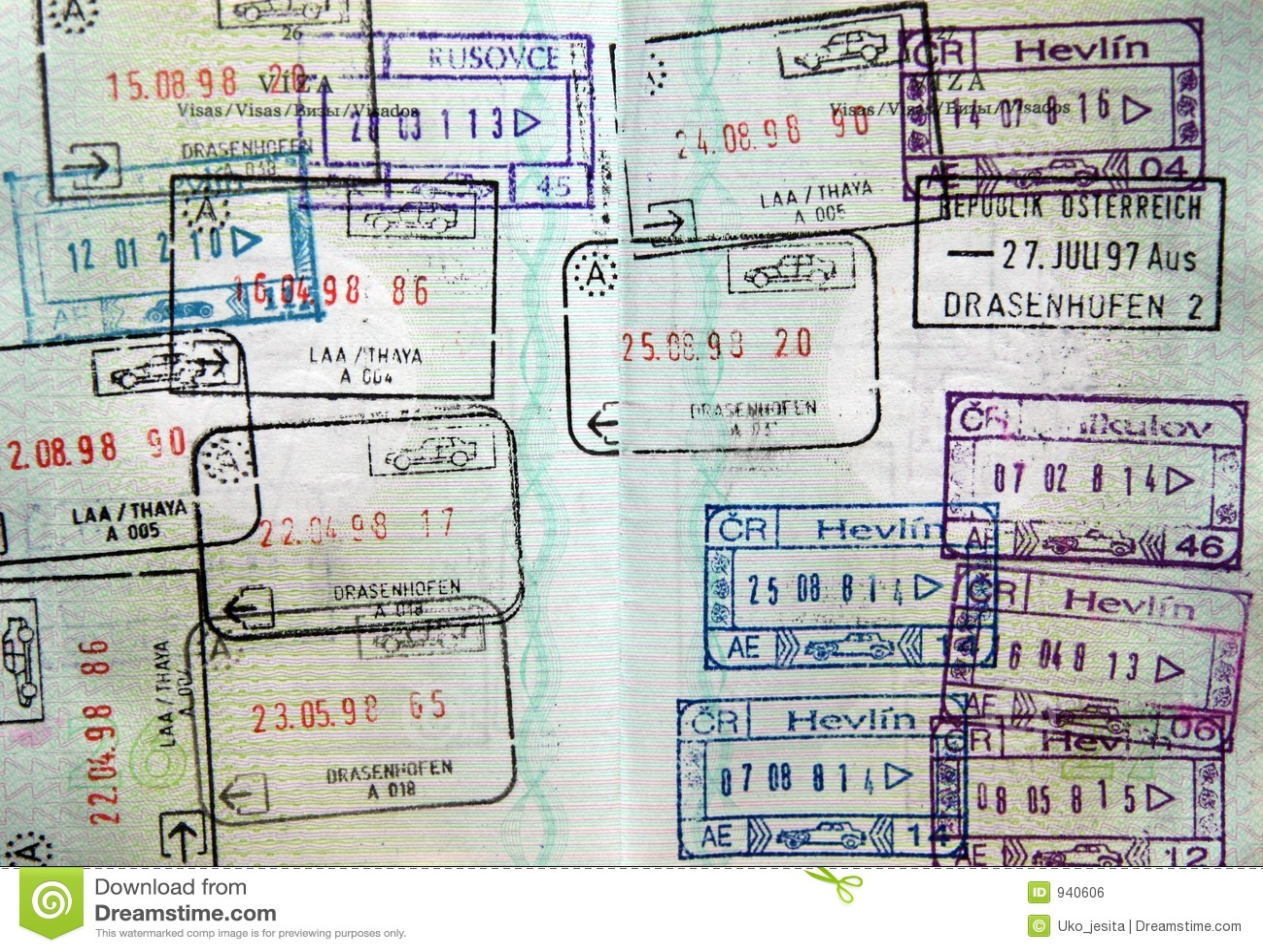 Sceaux de passeport du monde