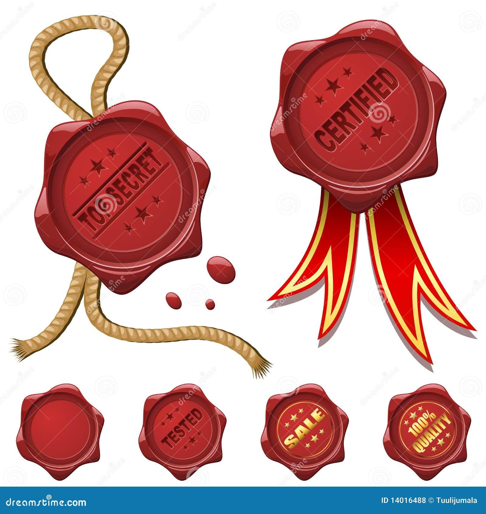 Sceaux rouges de cire