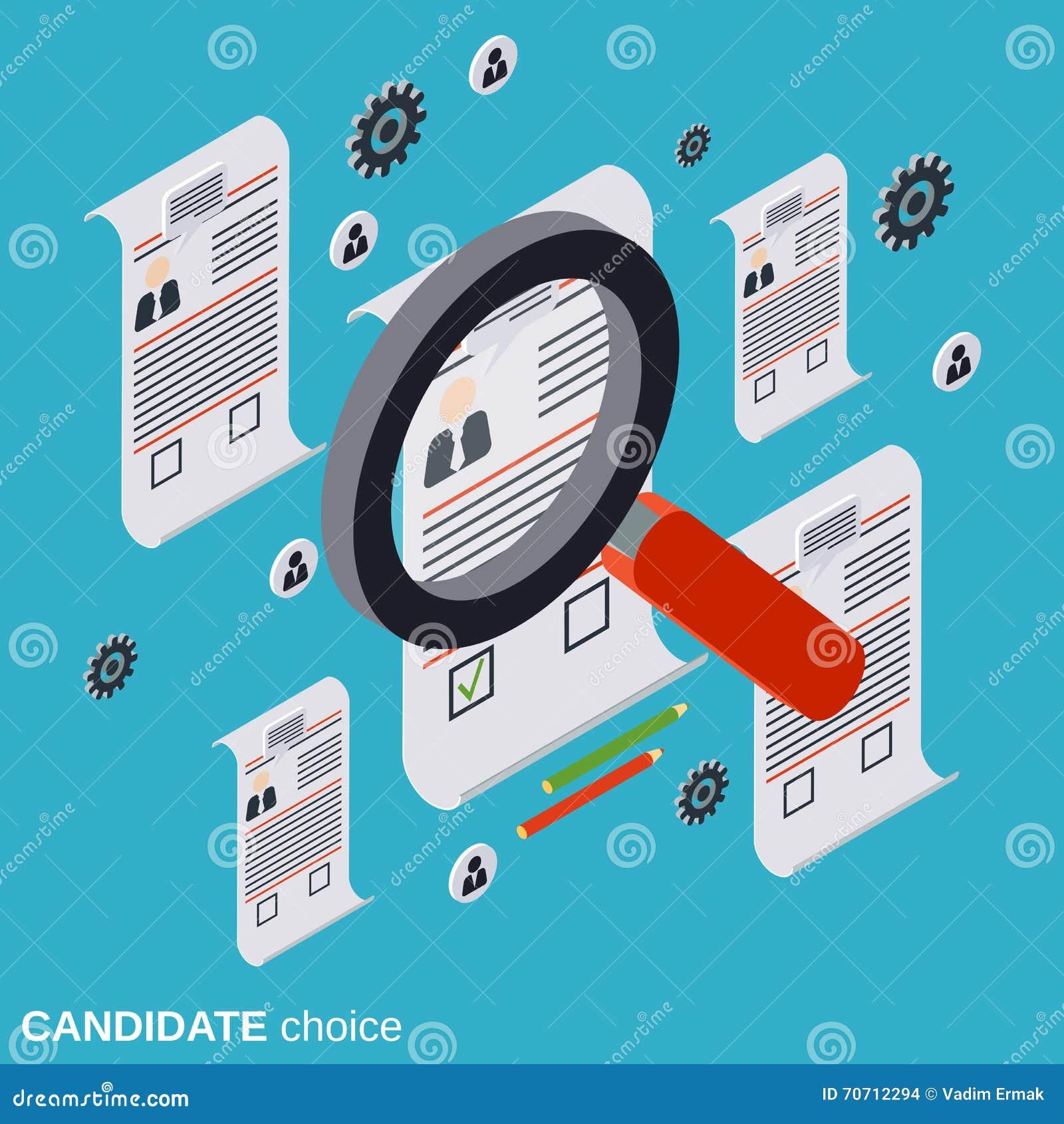 Scelta del candidato, analisi del riassunto, assunzione, gestione di risorse umane, concetto di vettore di ricerca del personale
