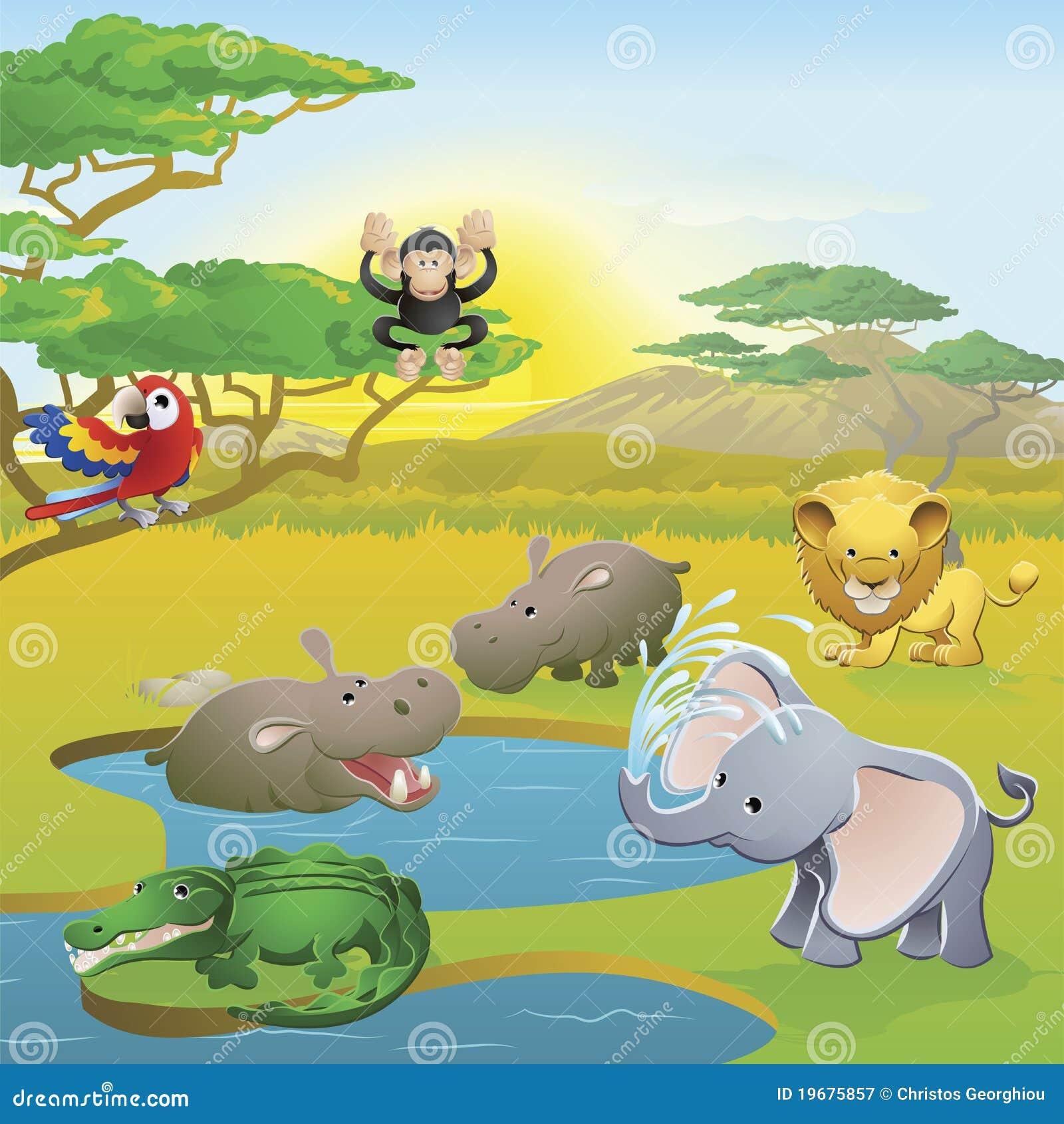 Scena animale del fumetto di safari africano sveglio