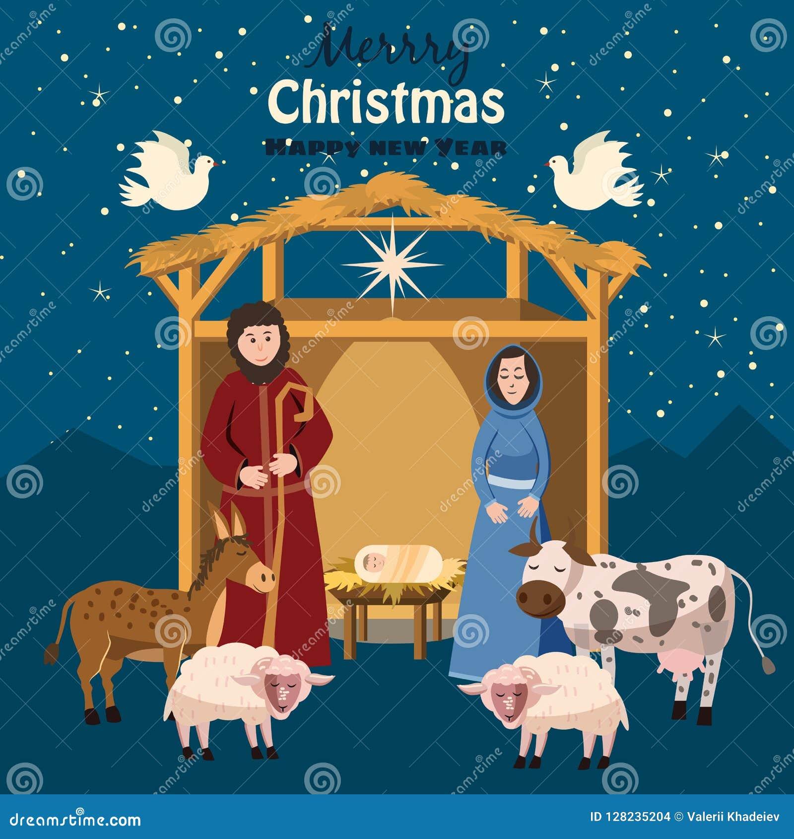Buon Santo Natale.Scena Buon Natale E Buon Anno Bambino Gesu Nella