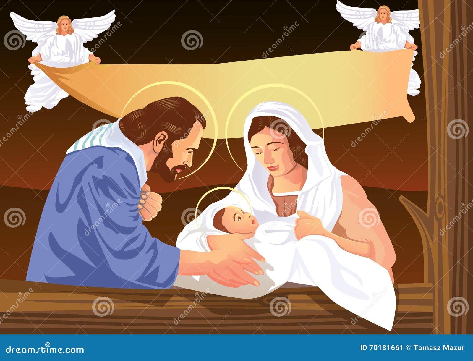 Scena cristiana di natività di Natale con il bambino Gesù e gli angeli