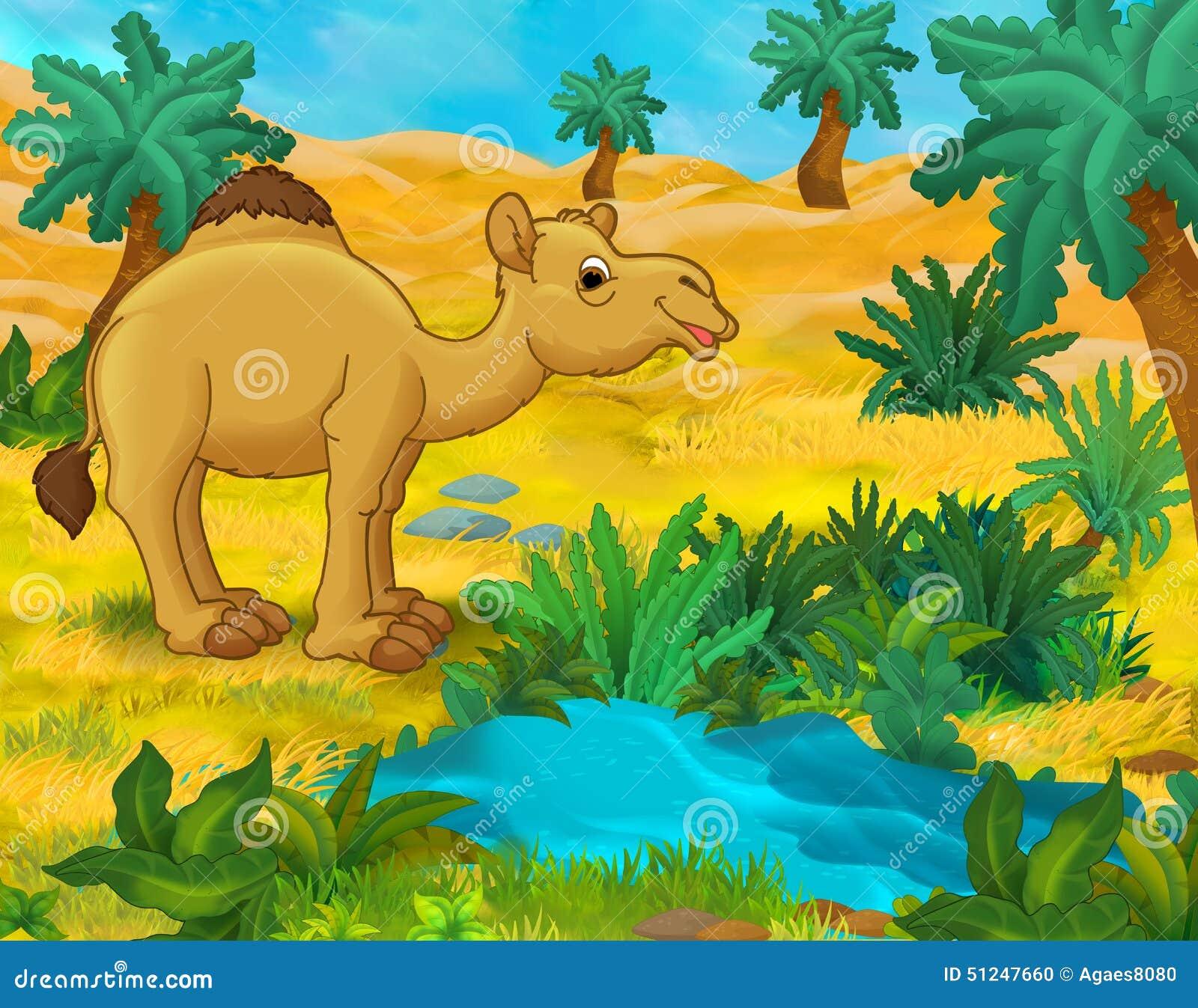 Scena Del Fumetto Animali Selvaggi Dell Africa Dromedario
