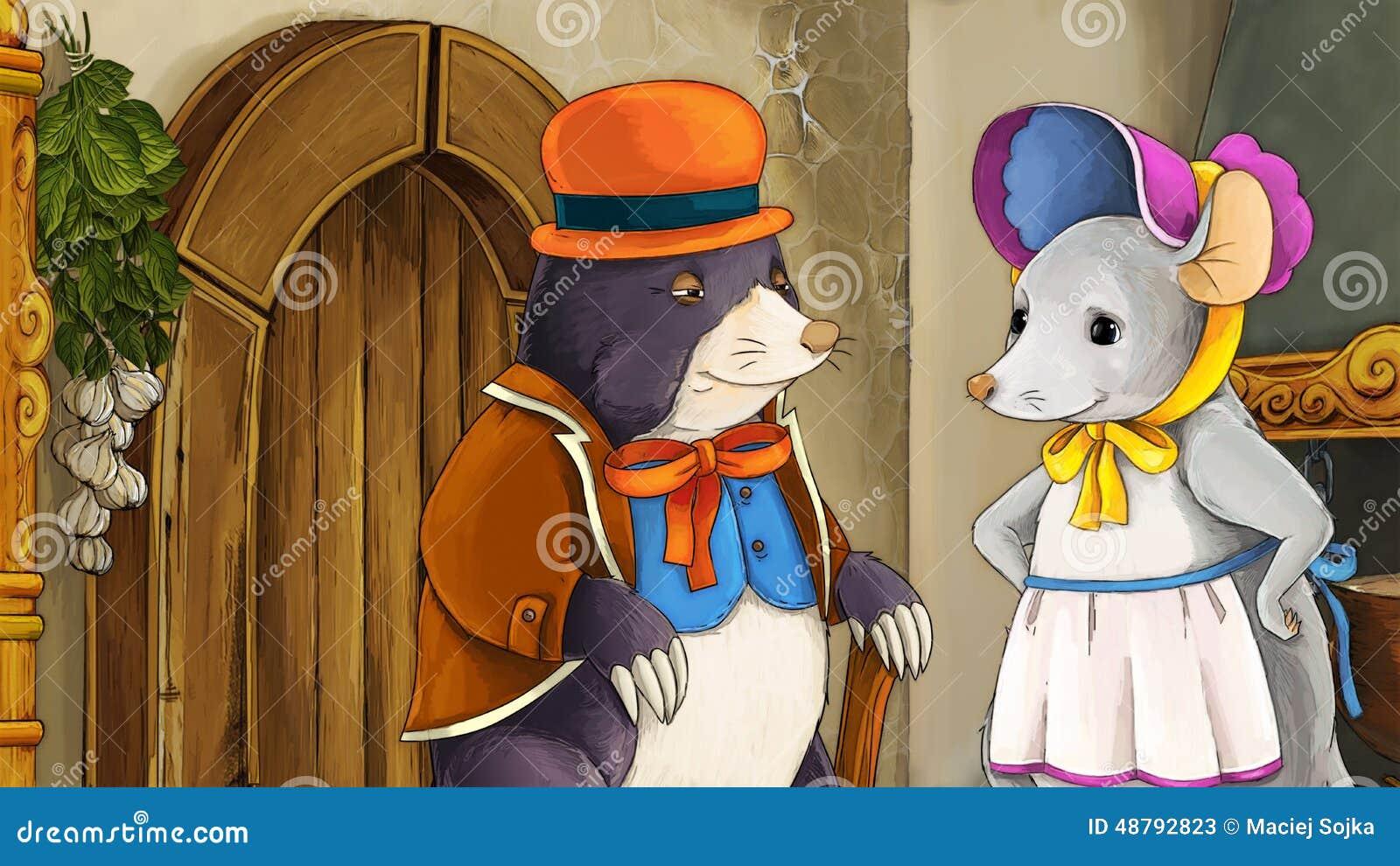 Scena del fumetto di favola con la talpa vestita e un topo