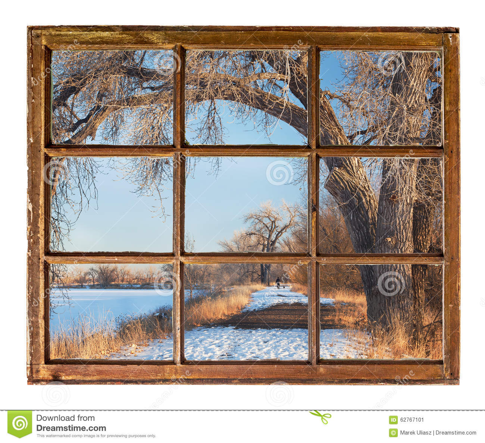Scena del parco di inverno dalla vecchia finestra di for Cabina del biscotto di marthastewart com