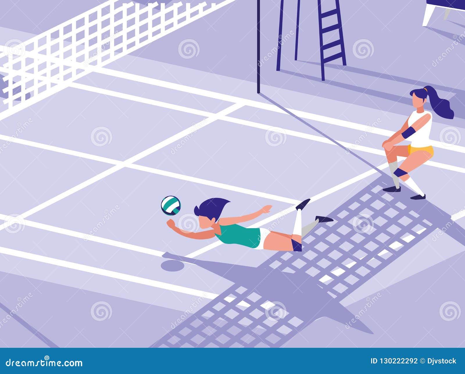 Scena della corte di sport di pallavolo
