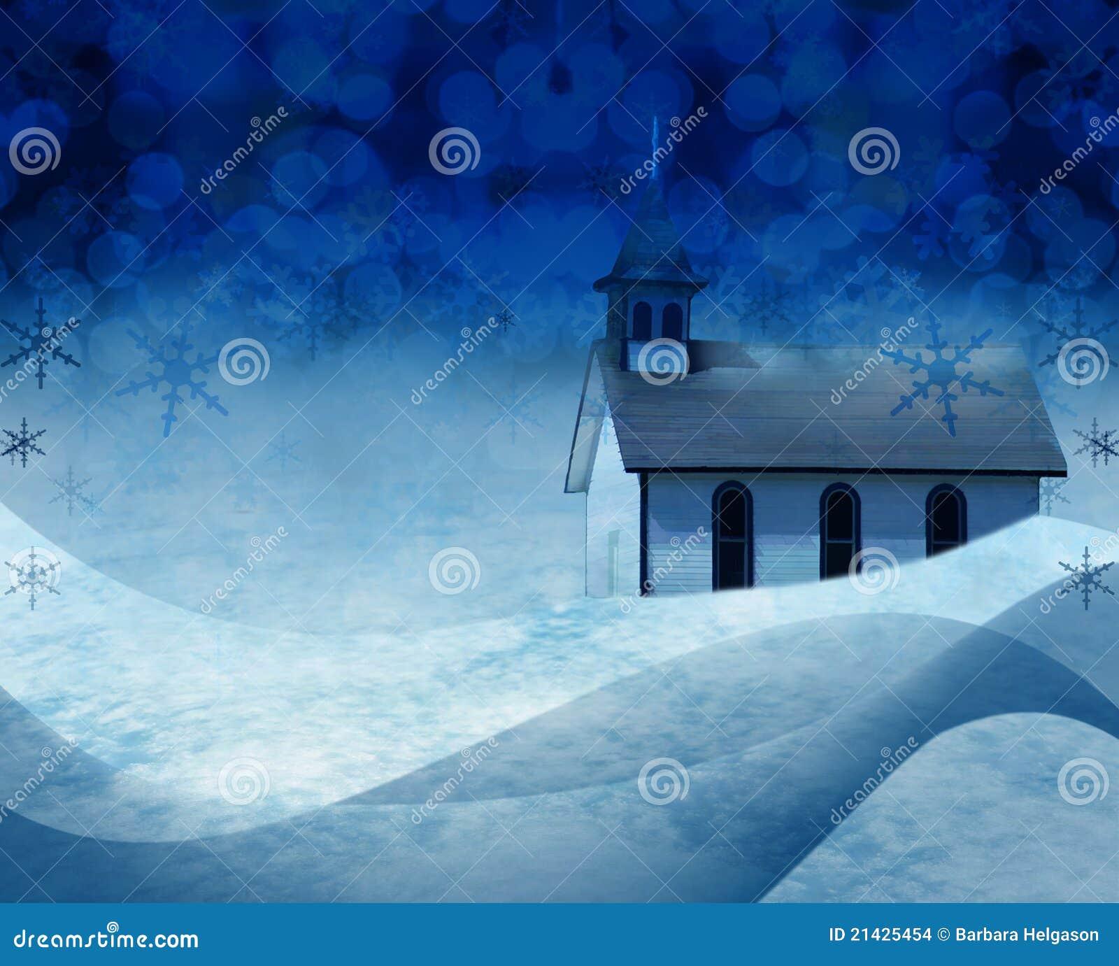 Scena della neve della chiesa di natale