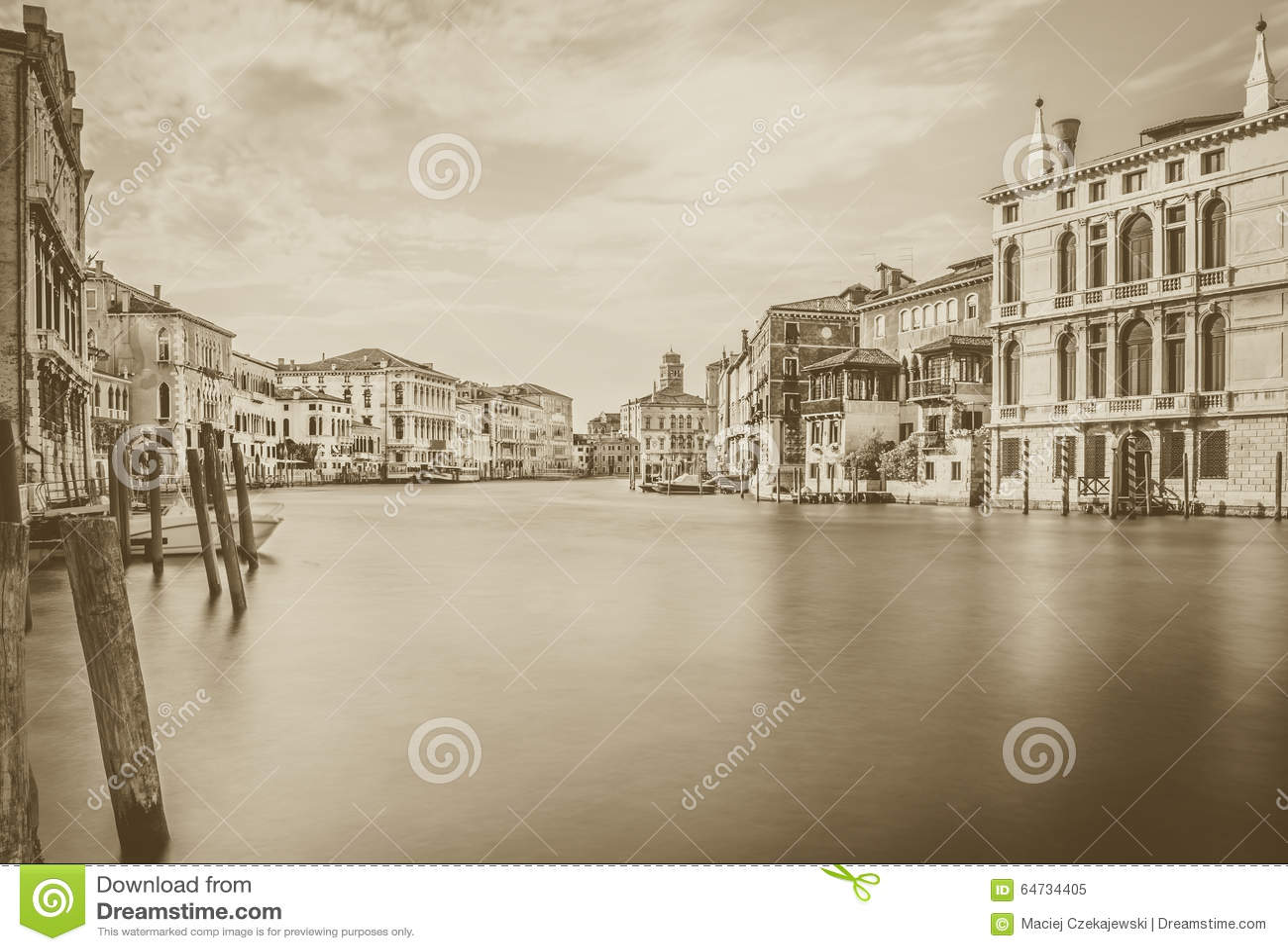 Scena di Grand Canal nel b&w, Venezia