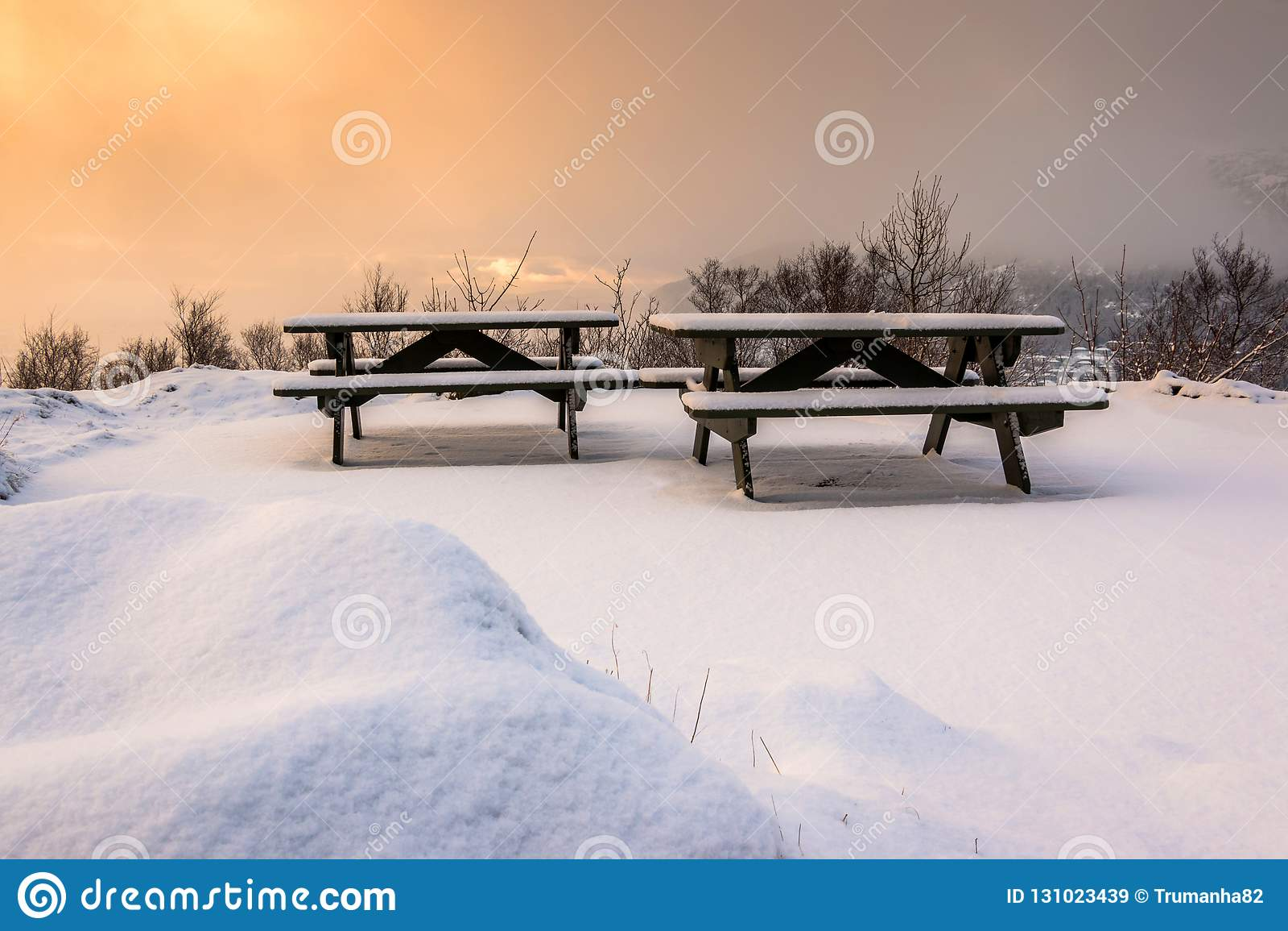 Scena di inverno con le Tabelle ed i banchi di picnic innevati ad alba