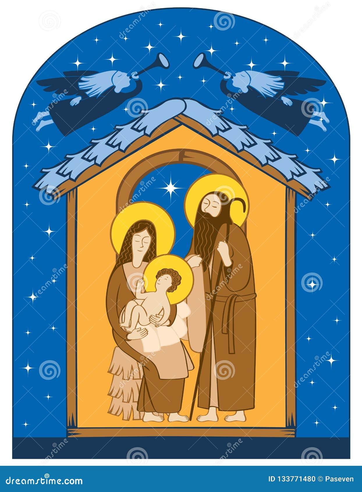 Nativita Natale Immagini.Scena Di Nativita Di Natale Famiglia Santa Ed Angeli