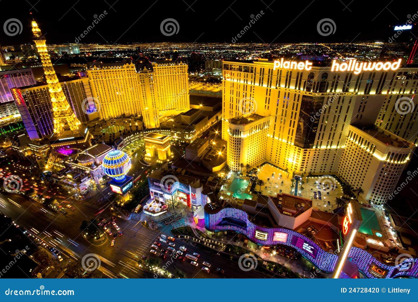 Scena di notte della striscia di Las Vegas