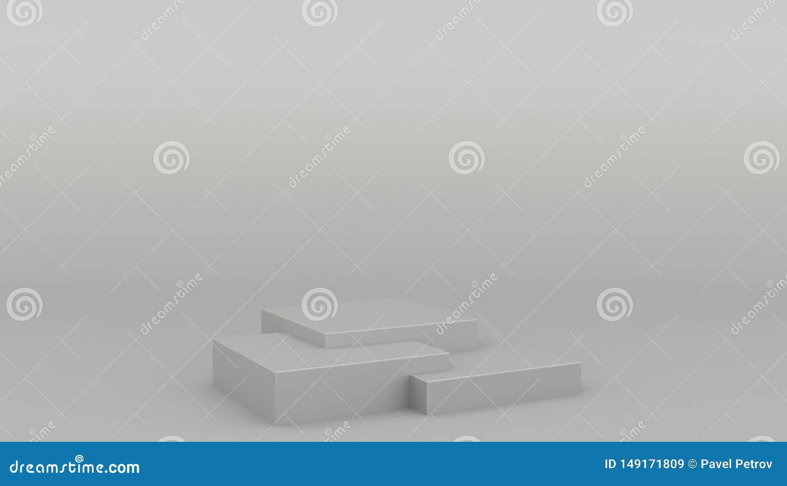 Scena grigia 3d minimo del podio geometrico della scatola che rende derisione minimalistic moderna su, modello in bianco, vetrina
