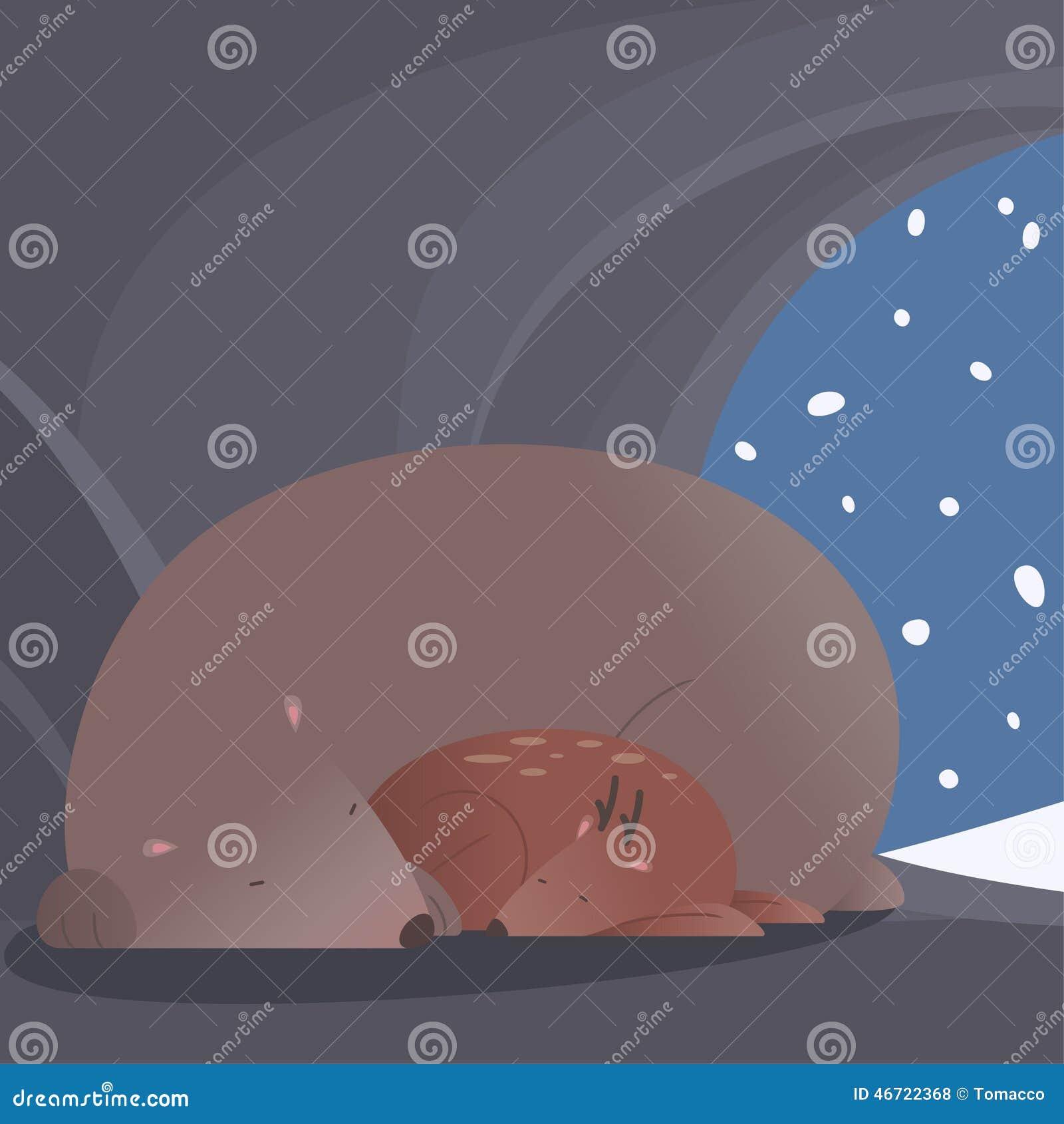 Scena pacifica di inverno con l orso ed i cervi che dormono insieme