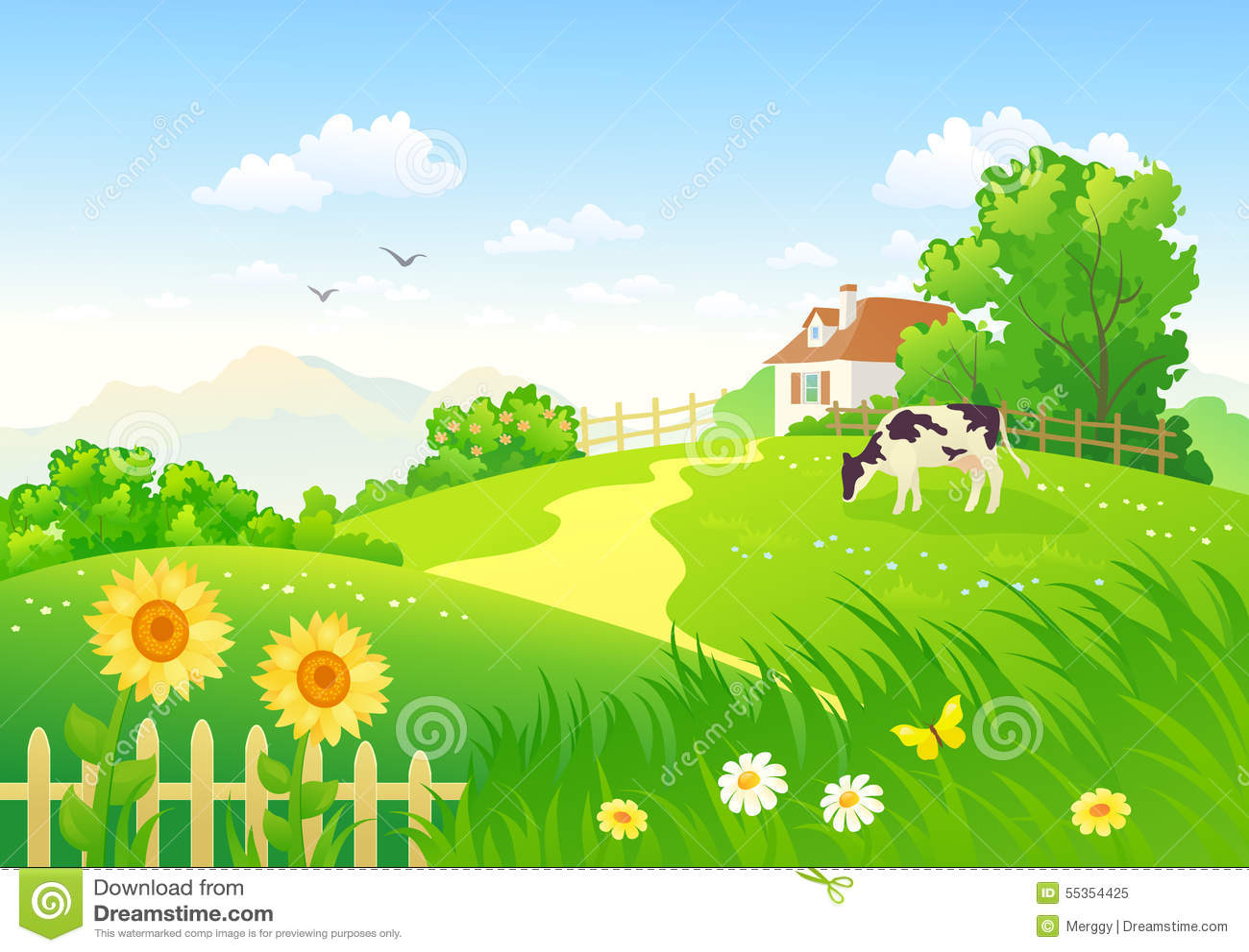 Scena rurale con una mucca