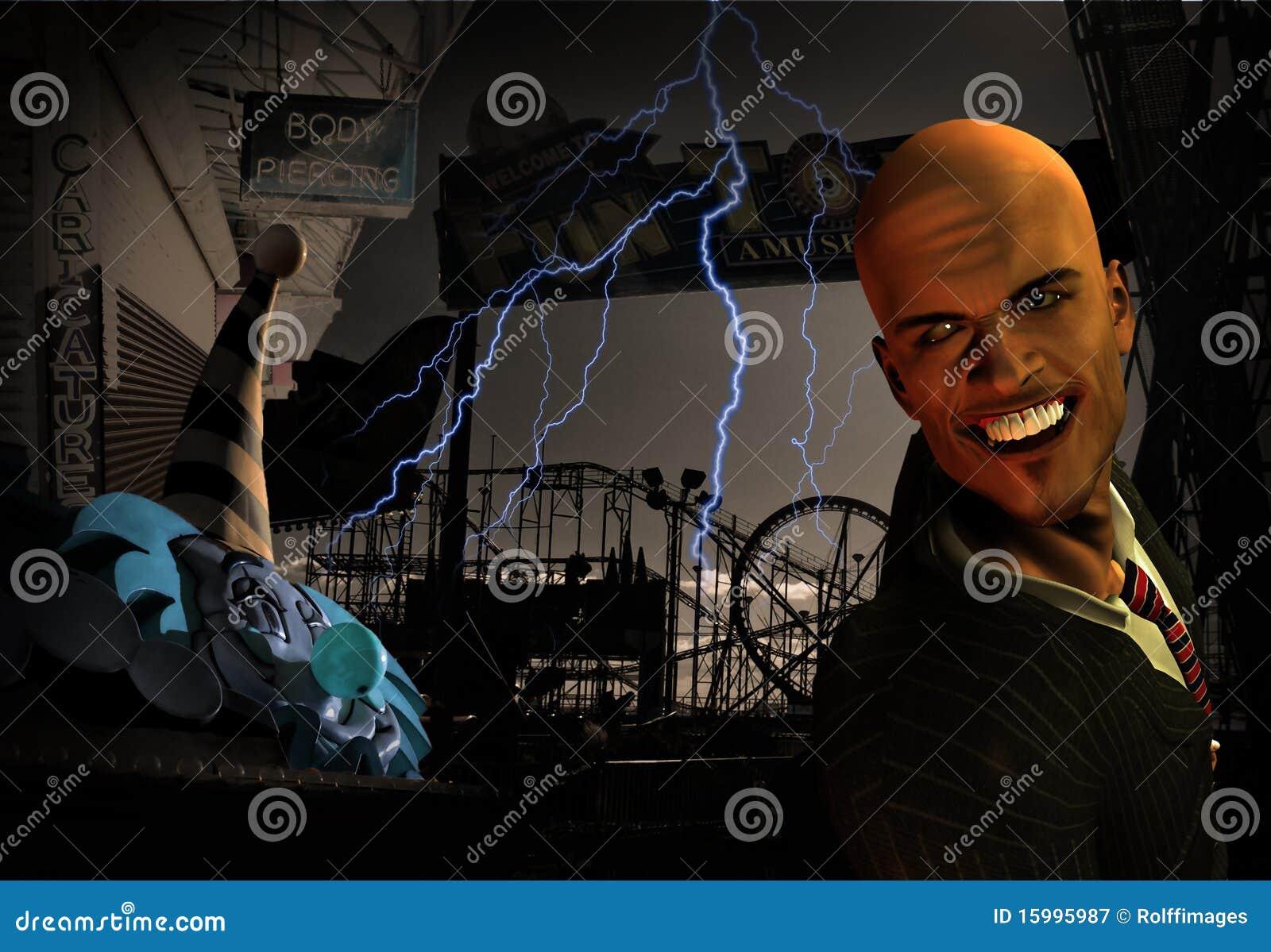 Scena terrificante del parco di divertimenti