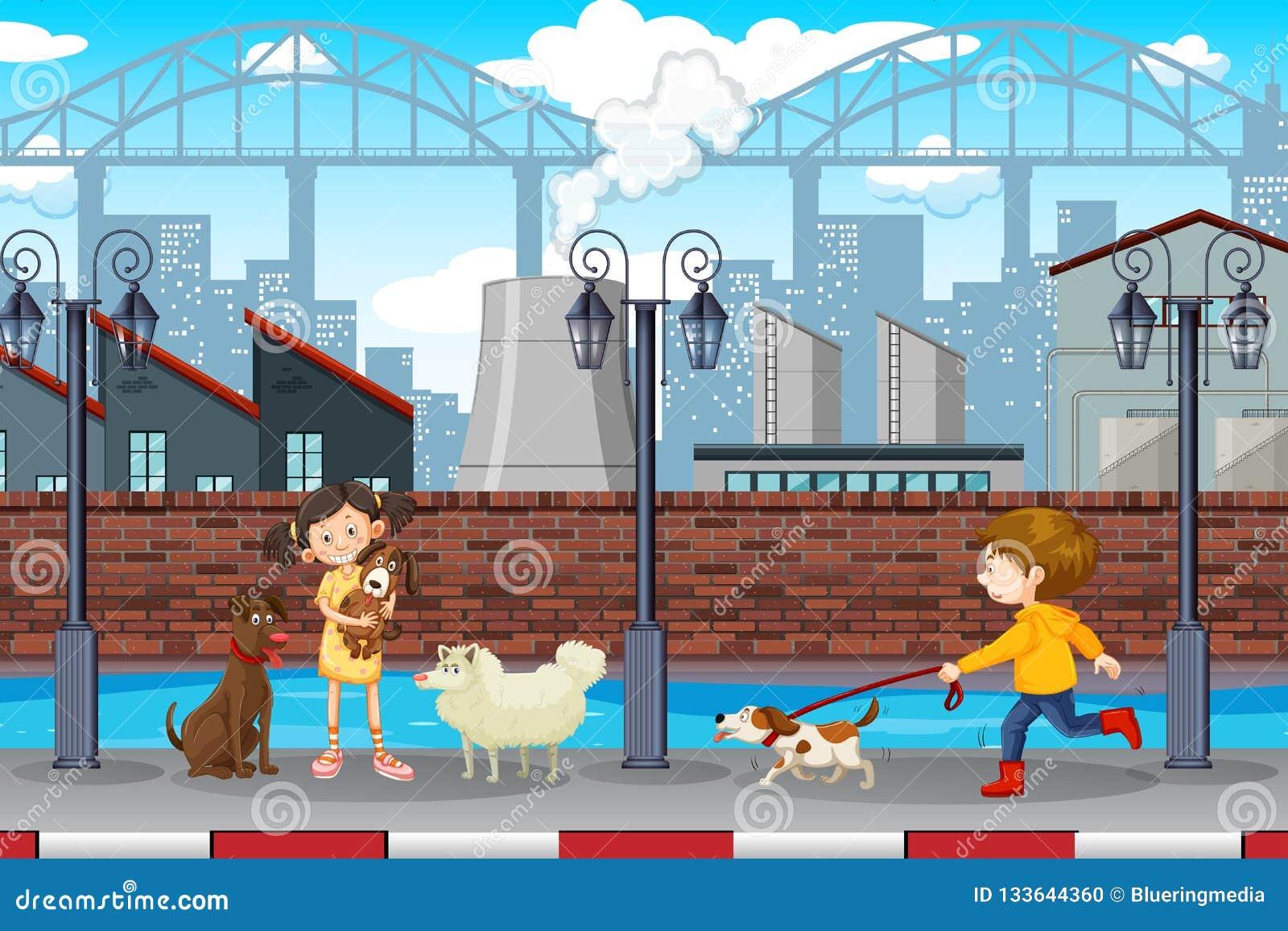 Scena urbana degli animali domestici e dei bambini